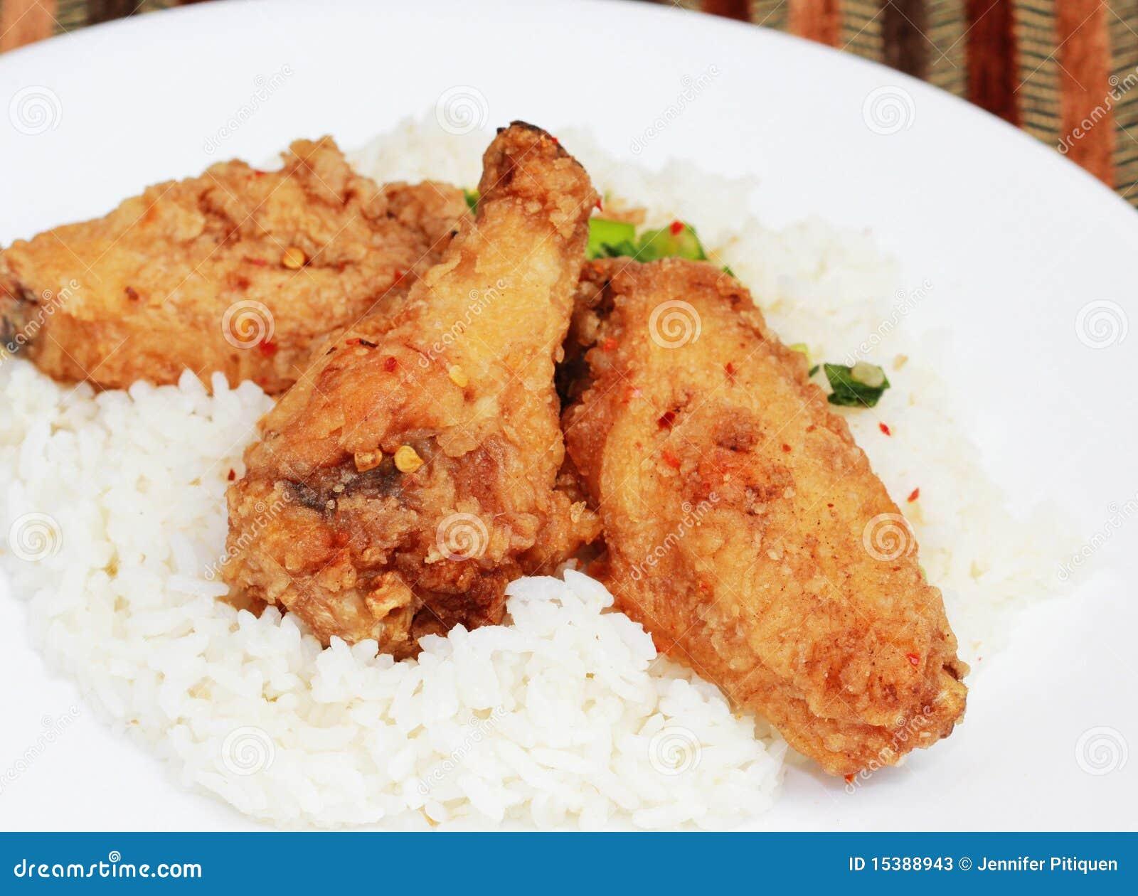 Comida china del pollo frito imagen de archivo imagen - Comidas con arroz blanco ...