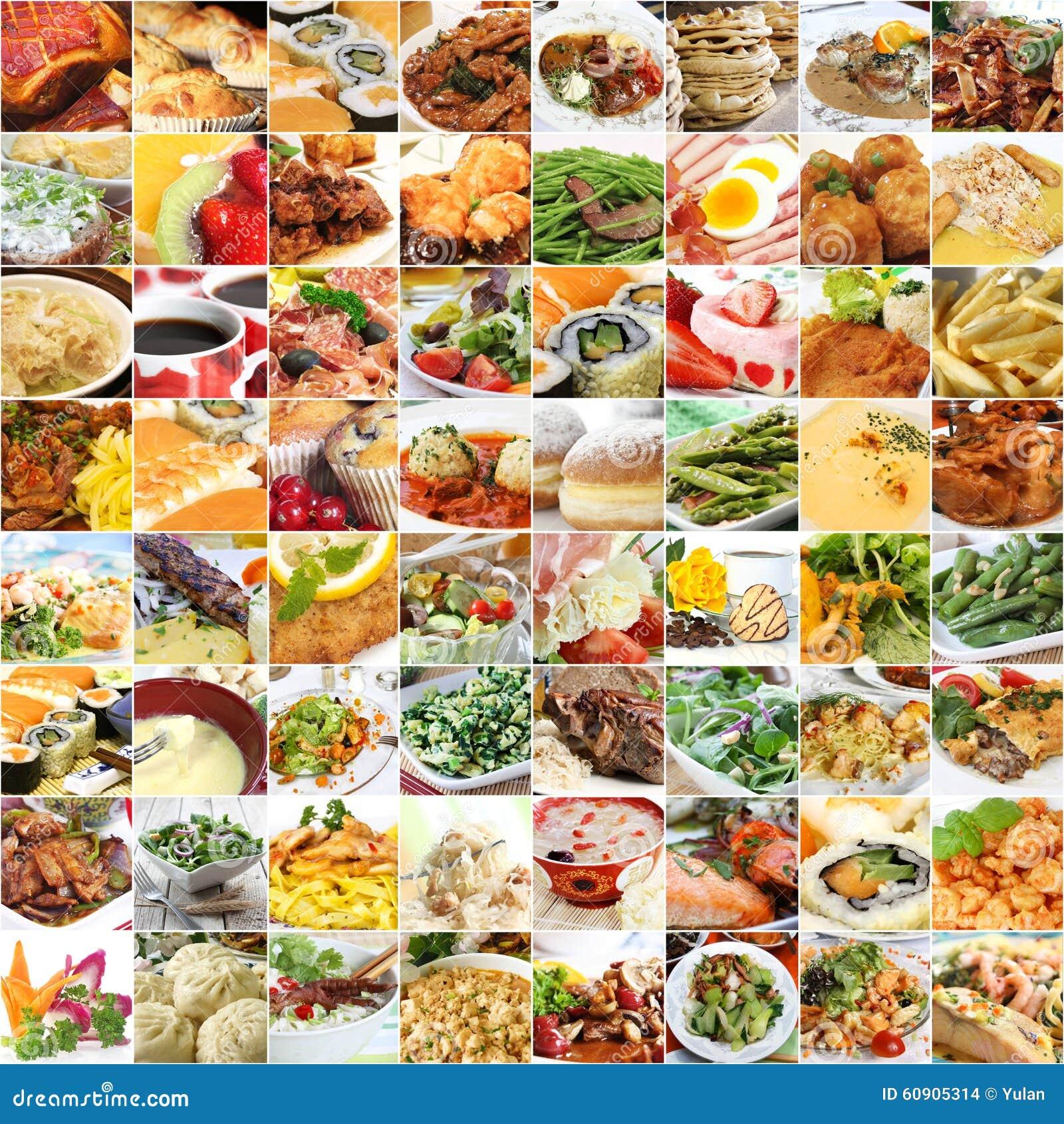 Comida del mundo y collage de las bebidas
