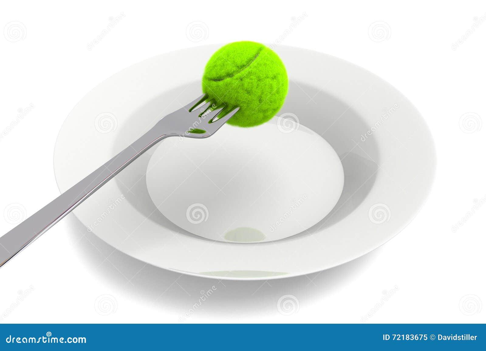 Tenis pelota stock de ilustracion ilustracion libre de stock de - Comida Del Tenis Pelota De Tenis Y Bifurcaci N En Un Fondo Blanco Stock De Ilustraci N