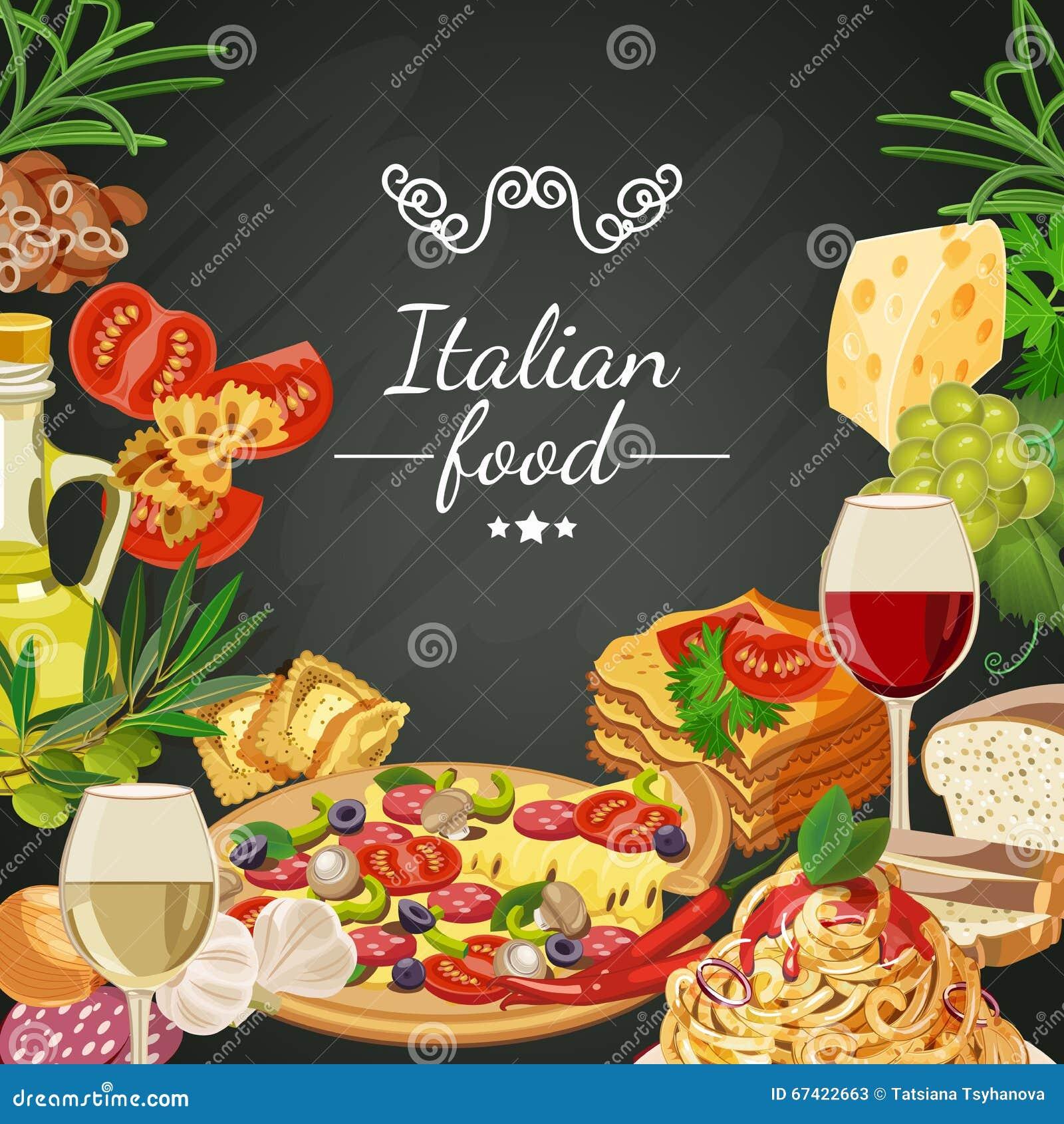 Comida en fondo de la pizarra cocina italiana comida en - Fotos de comodas ...