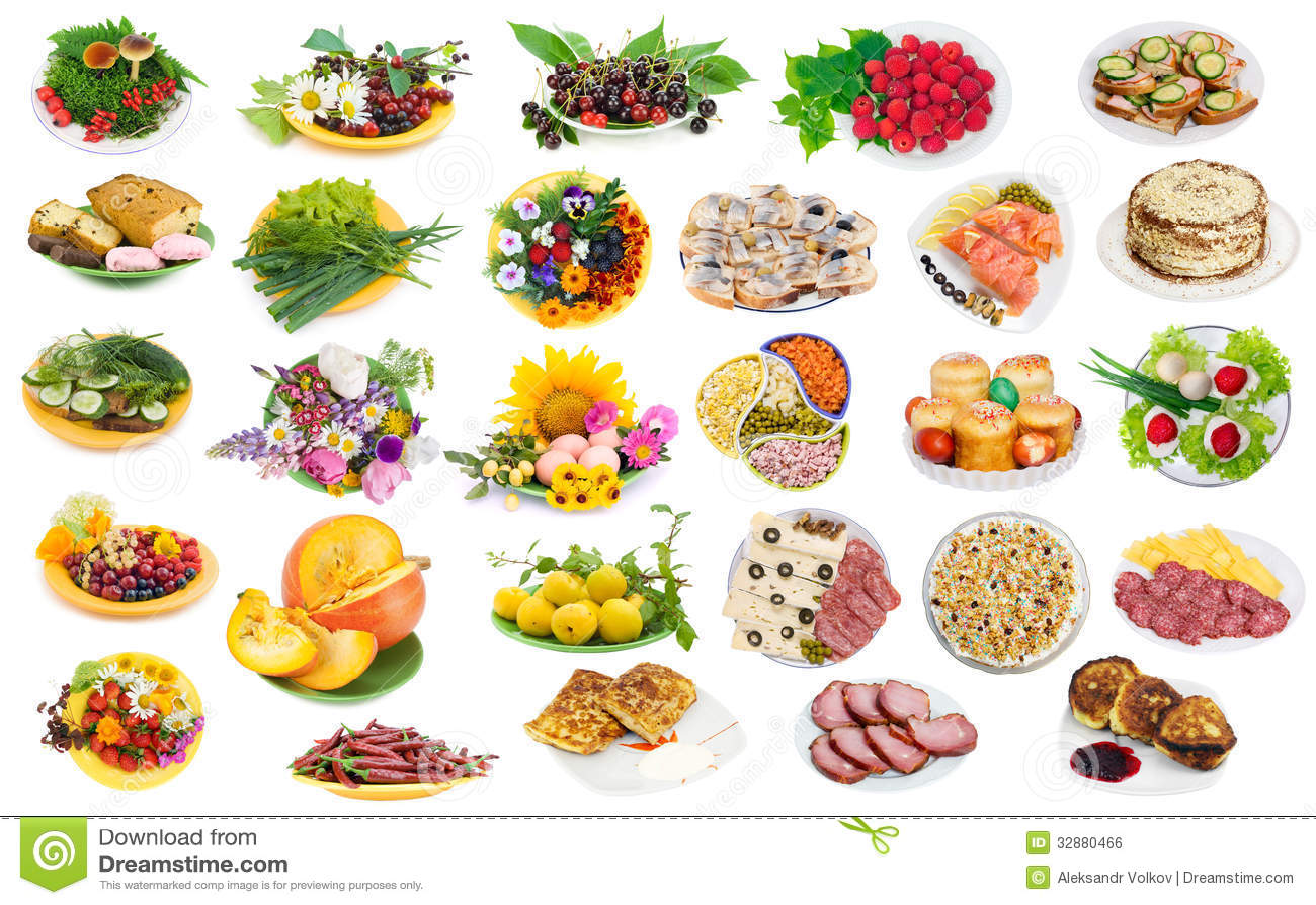 Comida en las placas fijadas