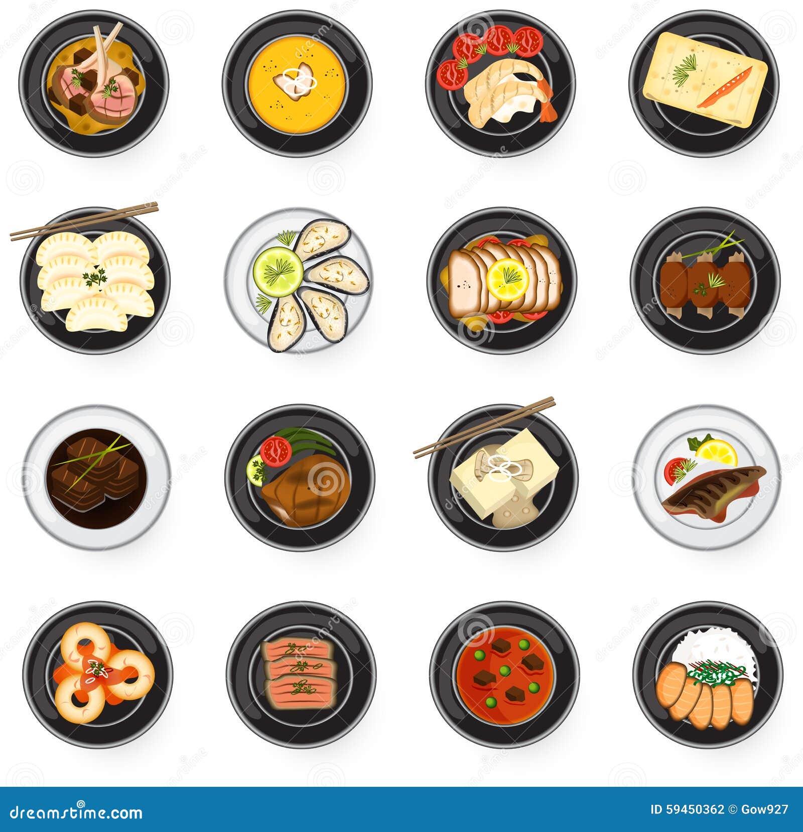 Comida gastrónoma de la cocina internacional de asiático al americano y al Eu