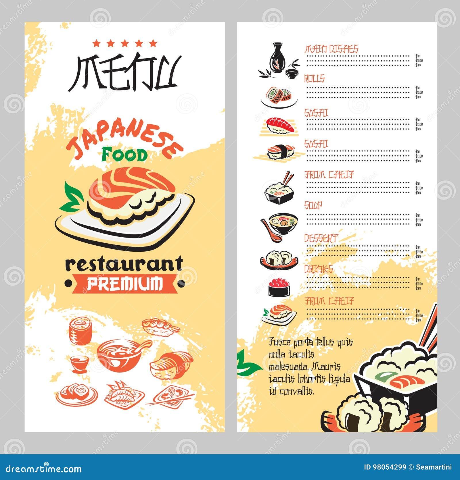 Menus De Cocina | Comida Japonesa Para El Menu Asiatico Del Restaurante De La Cocina