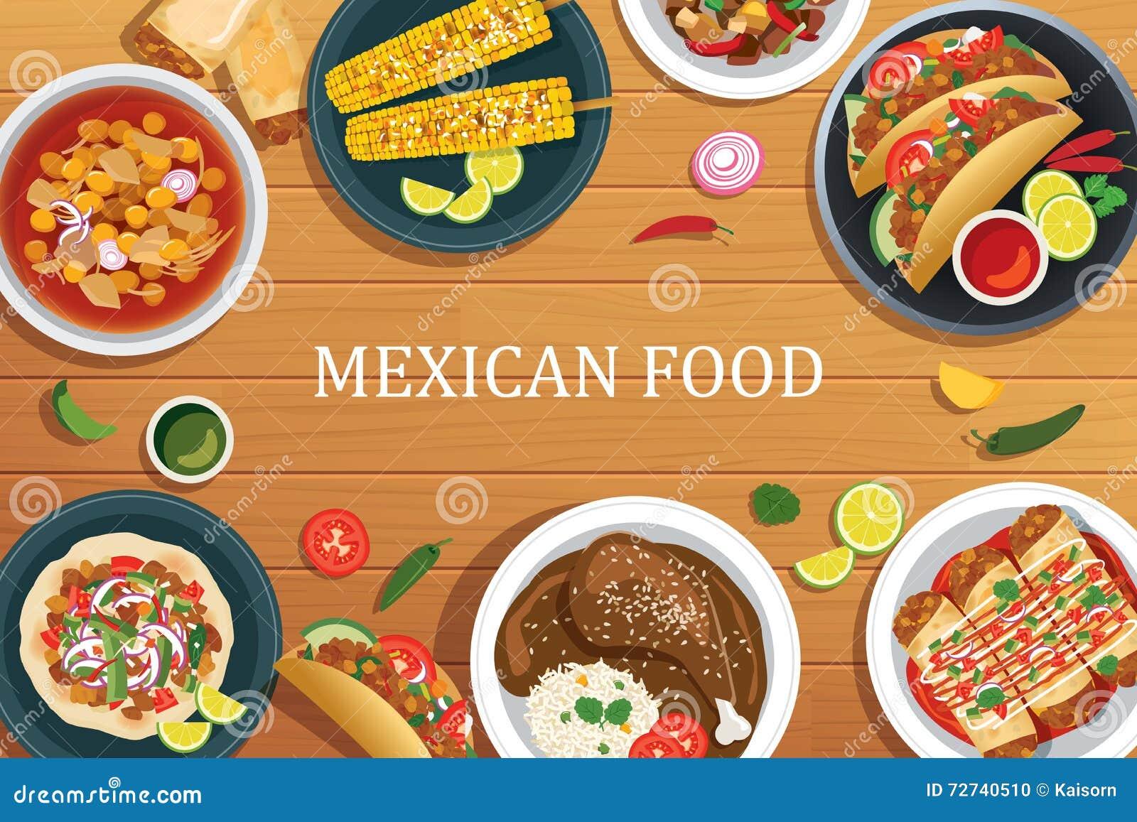 Colección De Comida Mexicana Deliciosa Ilustración del Vector ...