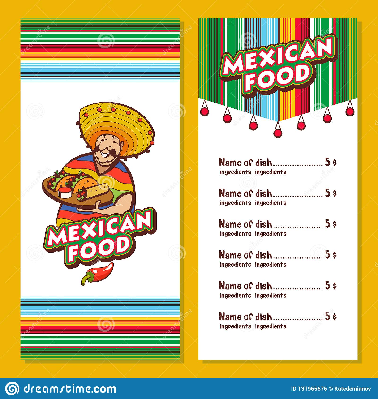 Comida Mexicana La Disposicion Del Menu Del Restaurante Mexicano Ilustracion Del Vector Ilustracion De Menu Restaurante 131965676