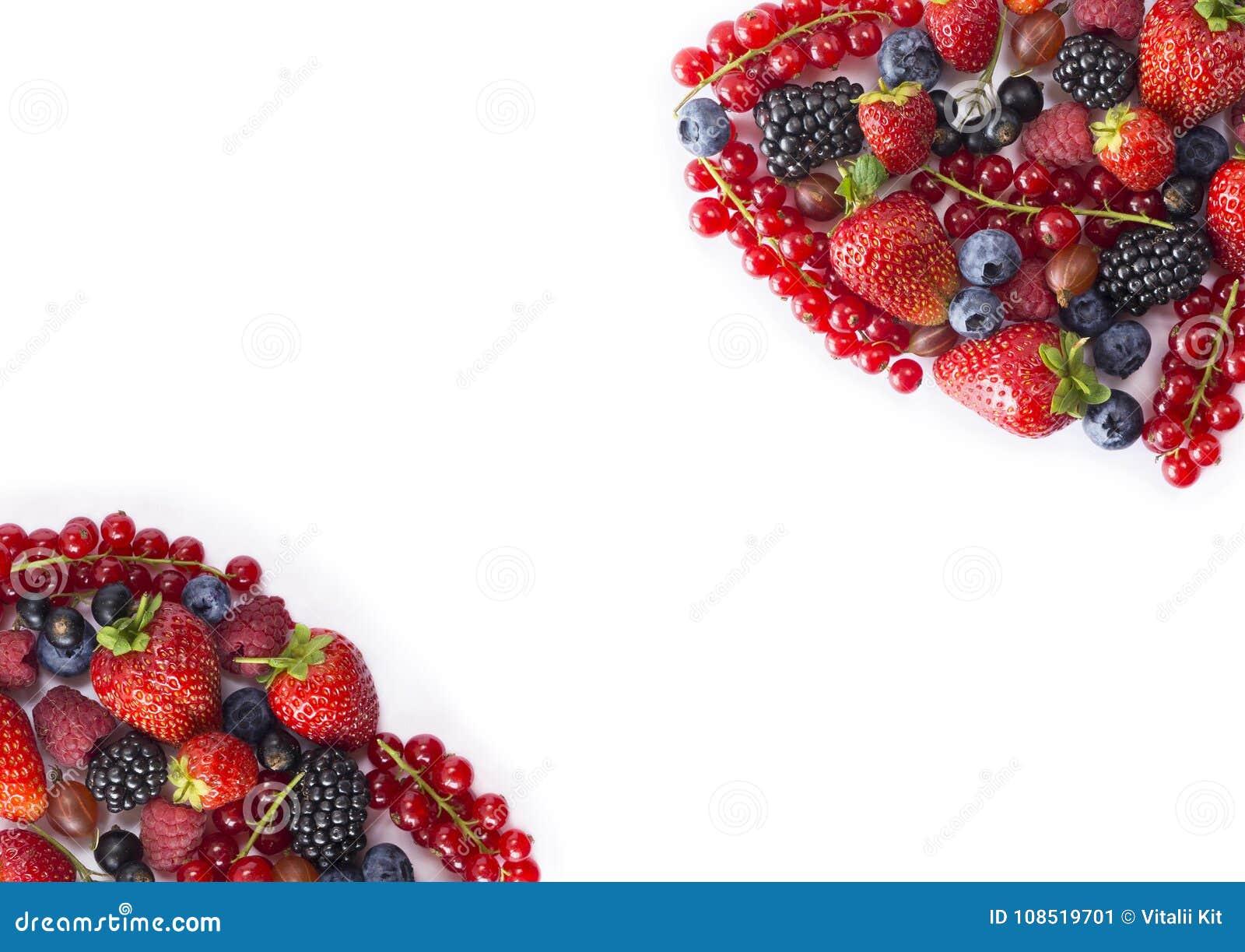 Comida Negro-azul y roja en el fondo blanco Arándanos maduros, pasas rojas, frambuesas, fresas, grosellas espinosas Berrie mezcla