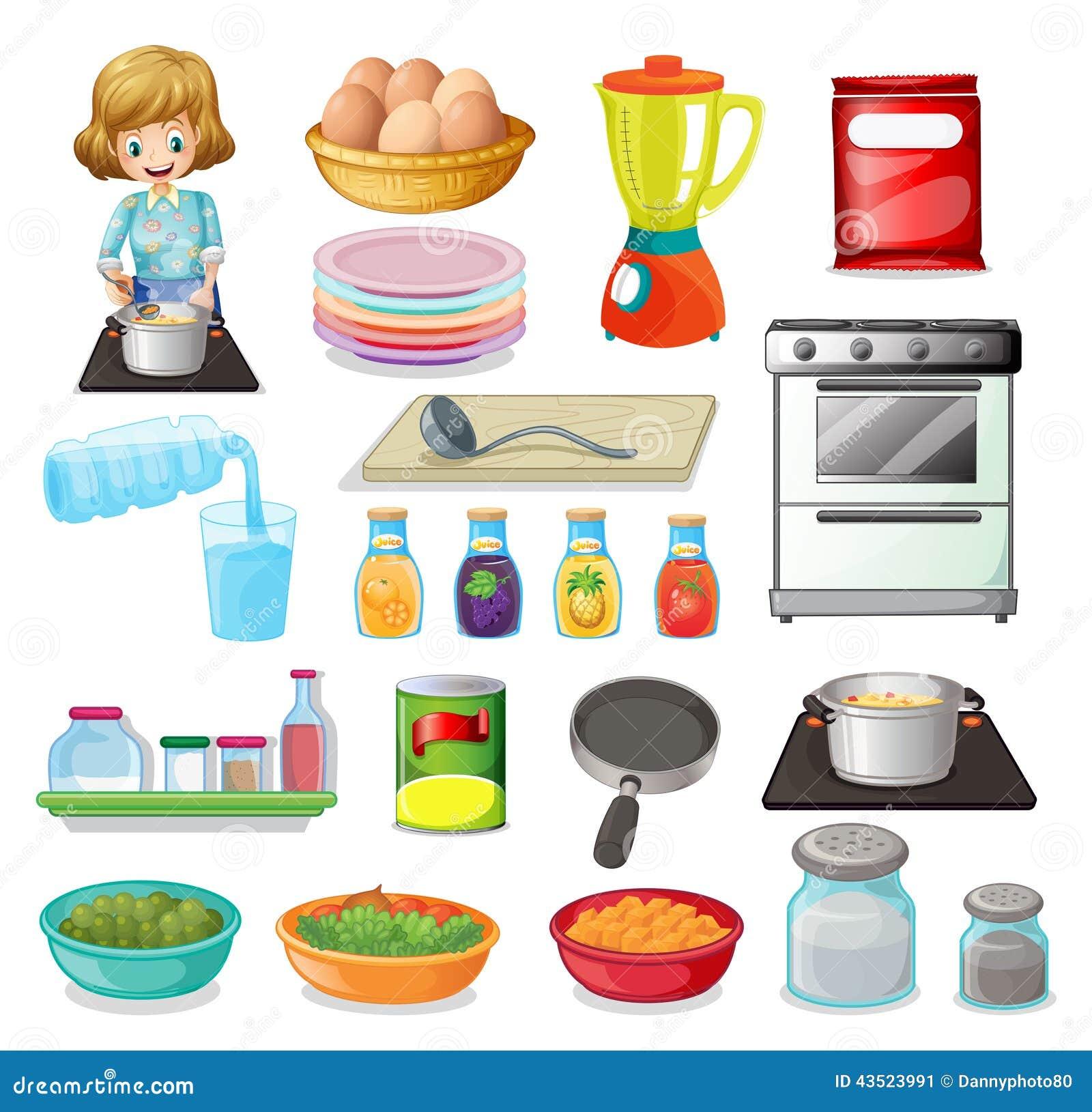 Comida y art culos de cocina ilustraci n del vector for Articulos de cocina