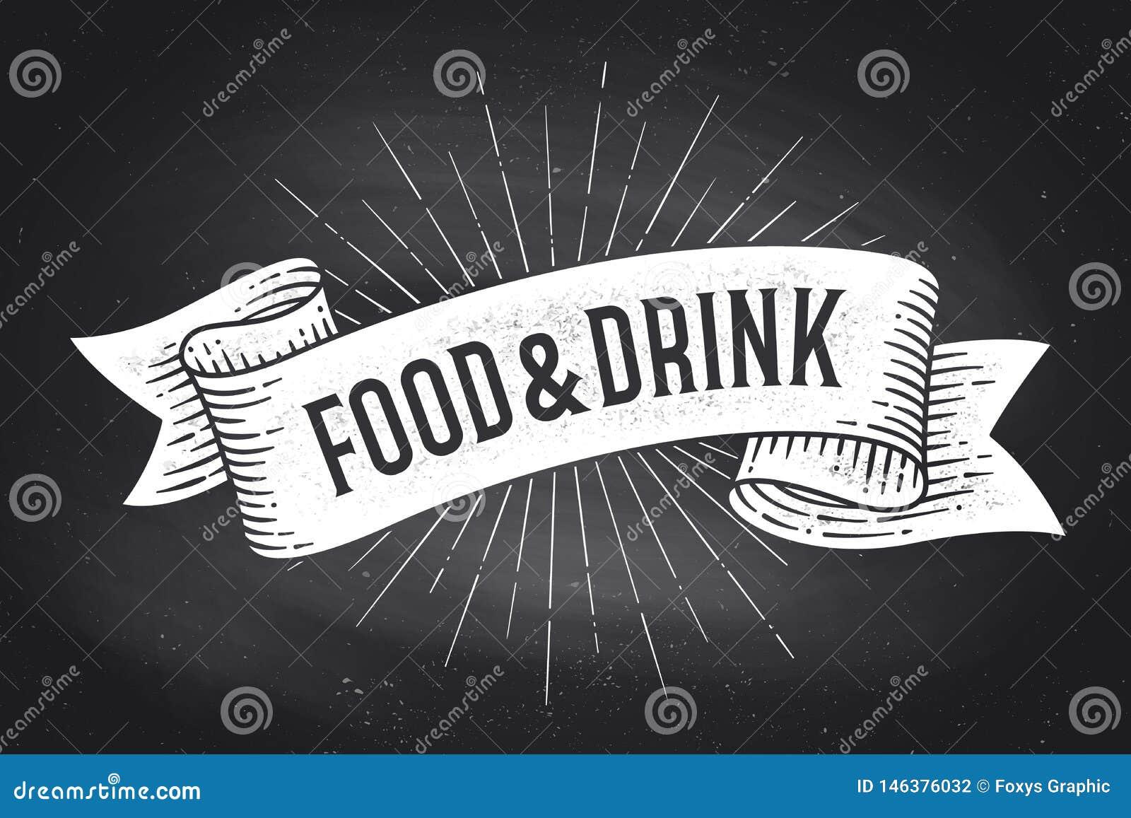 Comida y bebida Bandera de la cinta del vintage de la escuela vieja