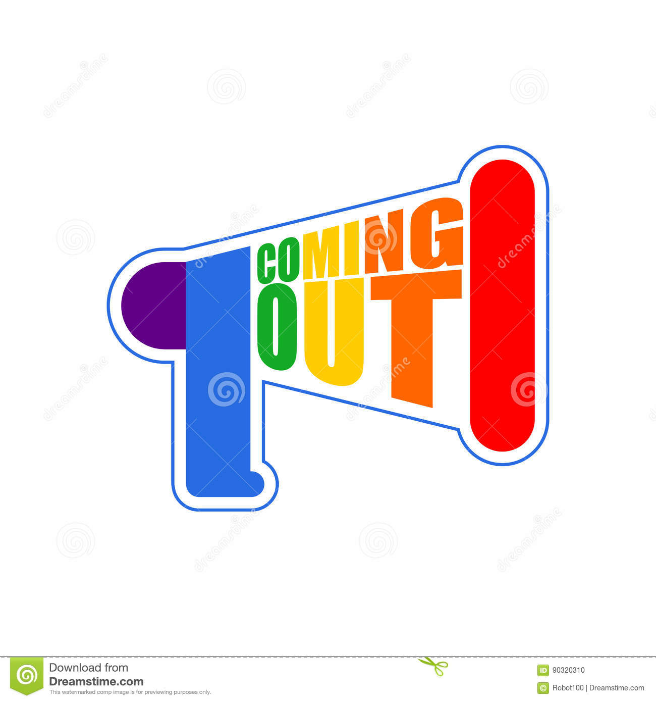 Coming Out Lgbt Sign Message Rainbow Megaphone Icon Social Netw