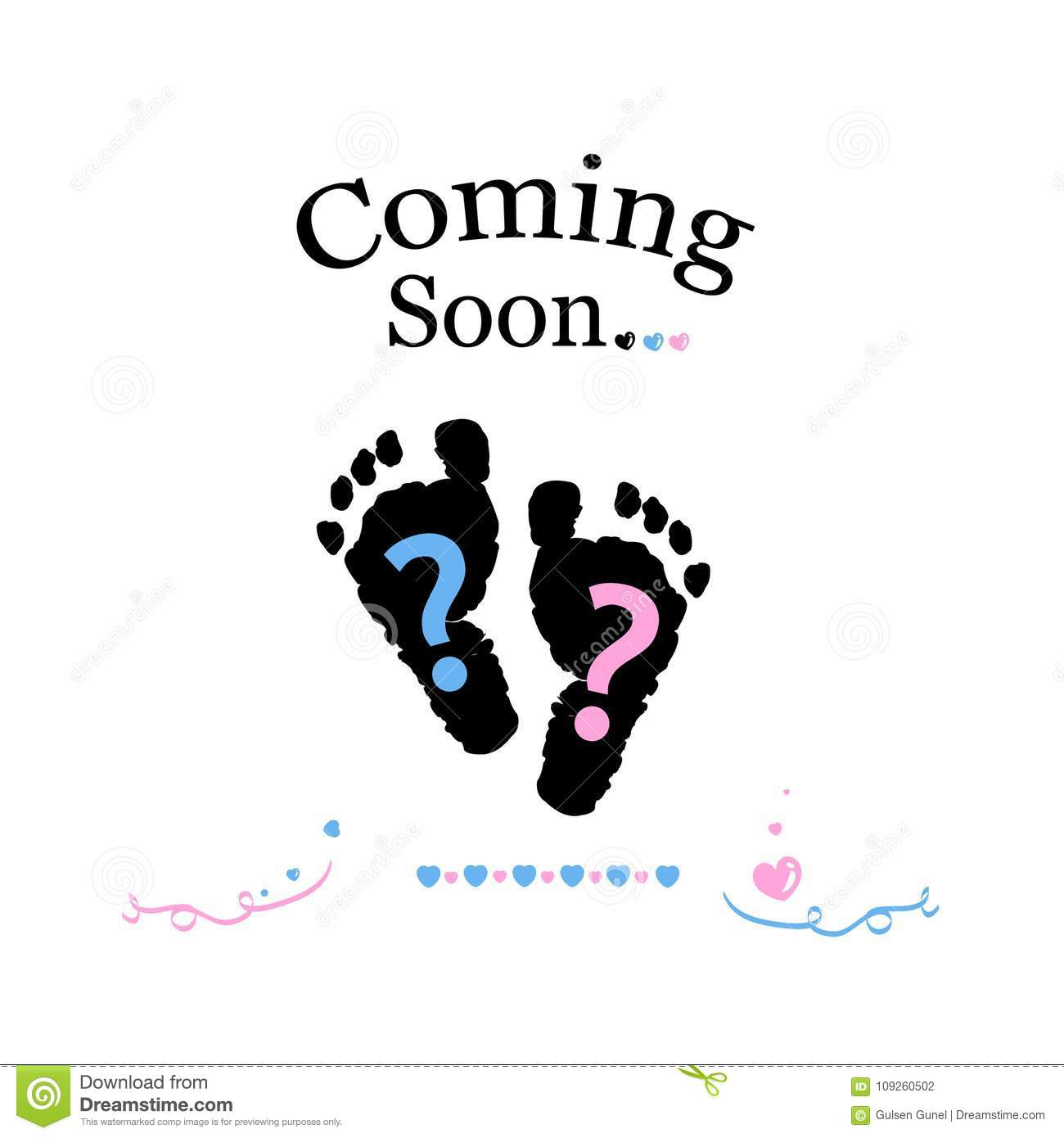 Coming soon baby. Baby gender reveal symbol. Girl, boy and twin baby symbol