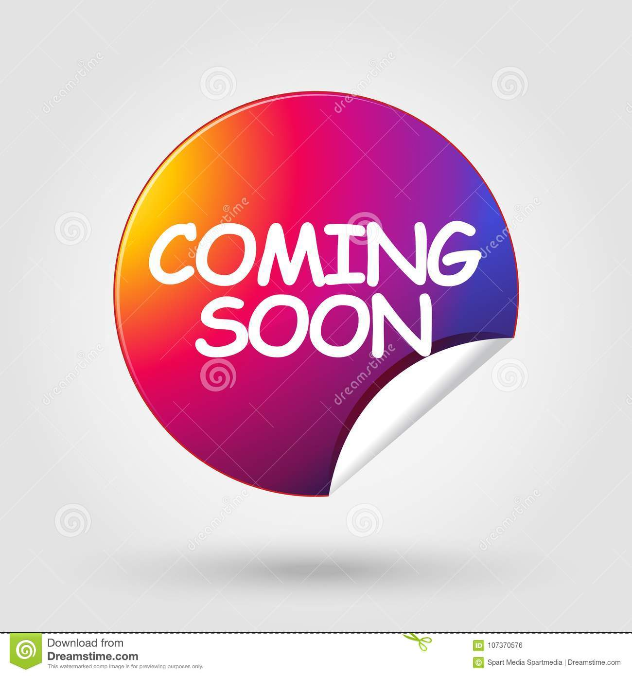 Coming Soon Button Sticker Concept Sign Stock Vector Illustration Of Background Poster 107370576