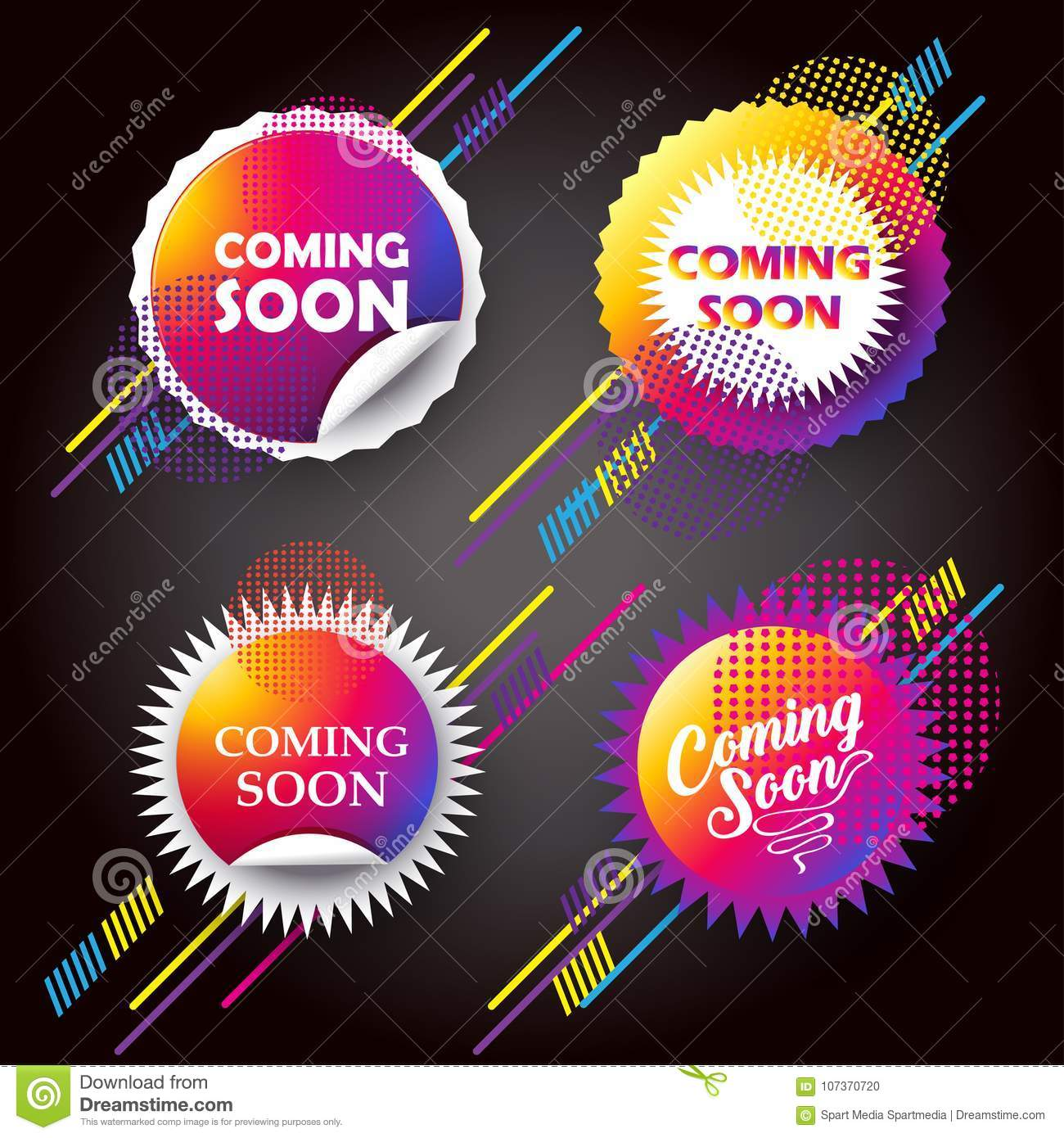 Coming Soon Buttons Dynamic Concept Stock Vector Illustration Of Marketing Glowing 107370720