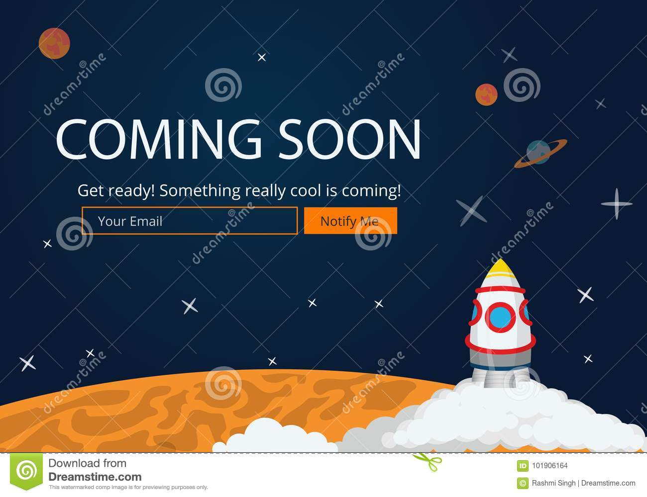 Coming Soon Website Template Stock Vector Illustration Of Notify