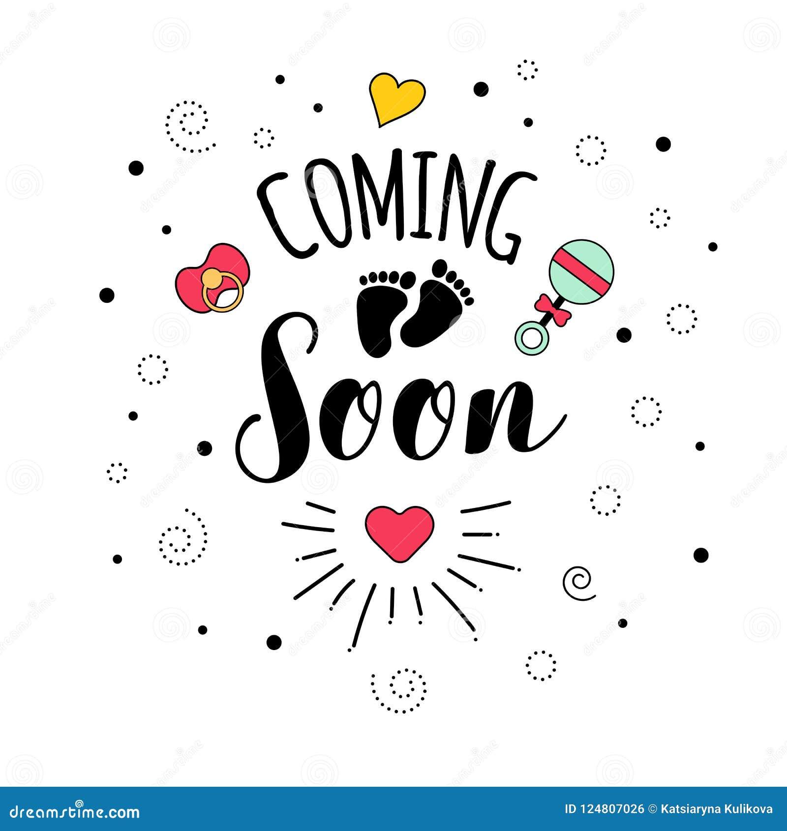 Coming Soon Mother Motherhood Pregnancy Quote Lettering Stock Vector Illustration Of Happy Newborn 124807026