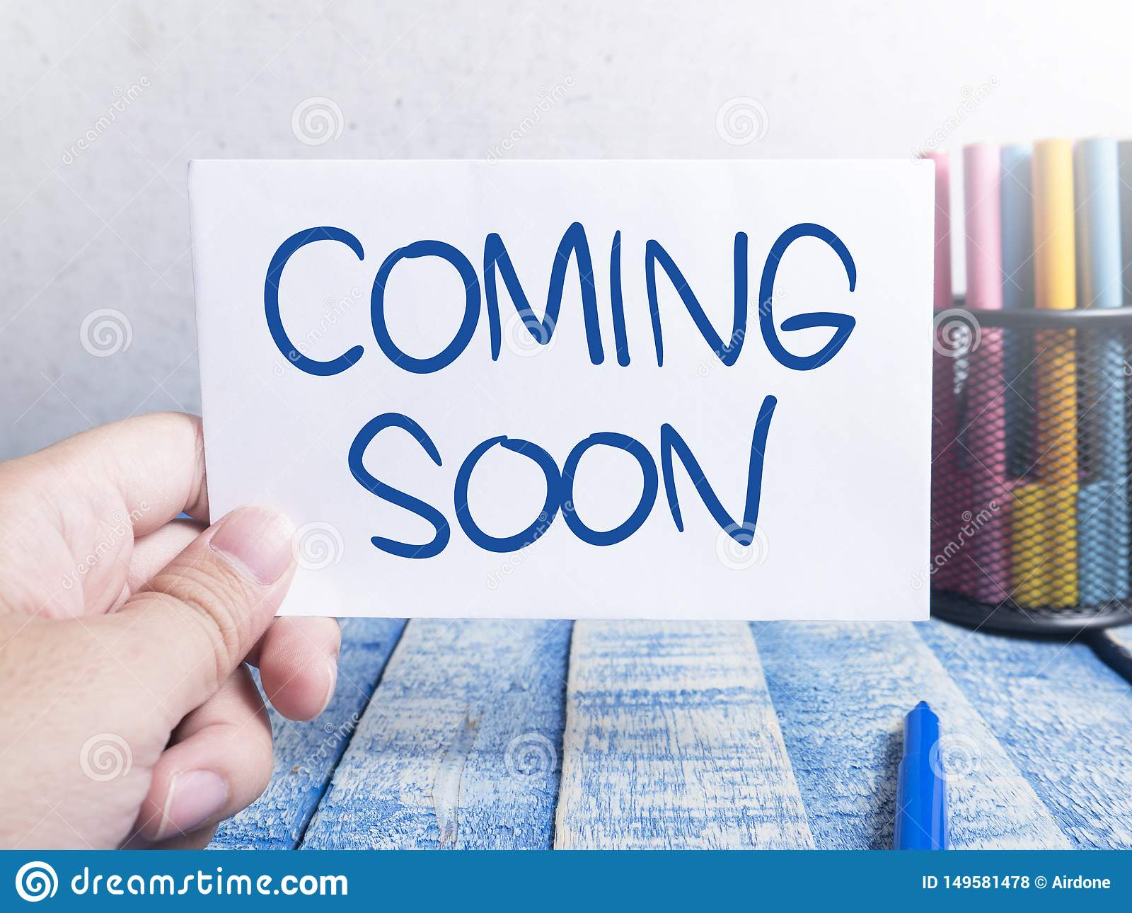 Coming Soon Words Typography Concept Stock Photo Image Of Arrival Anticipated 149581478