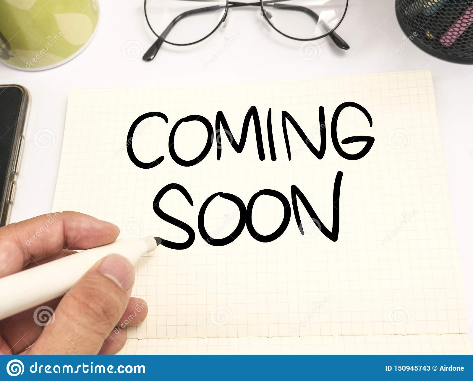 Coming Soon Words Typography Concept Stock Image Image Of Notification Announcement 150945743