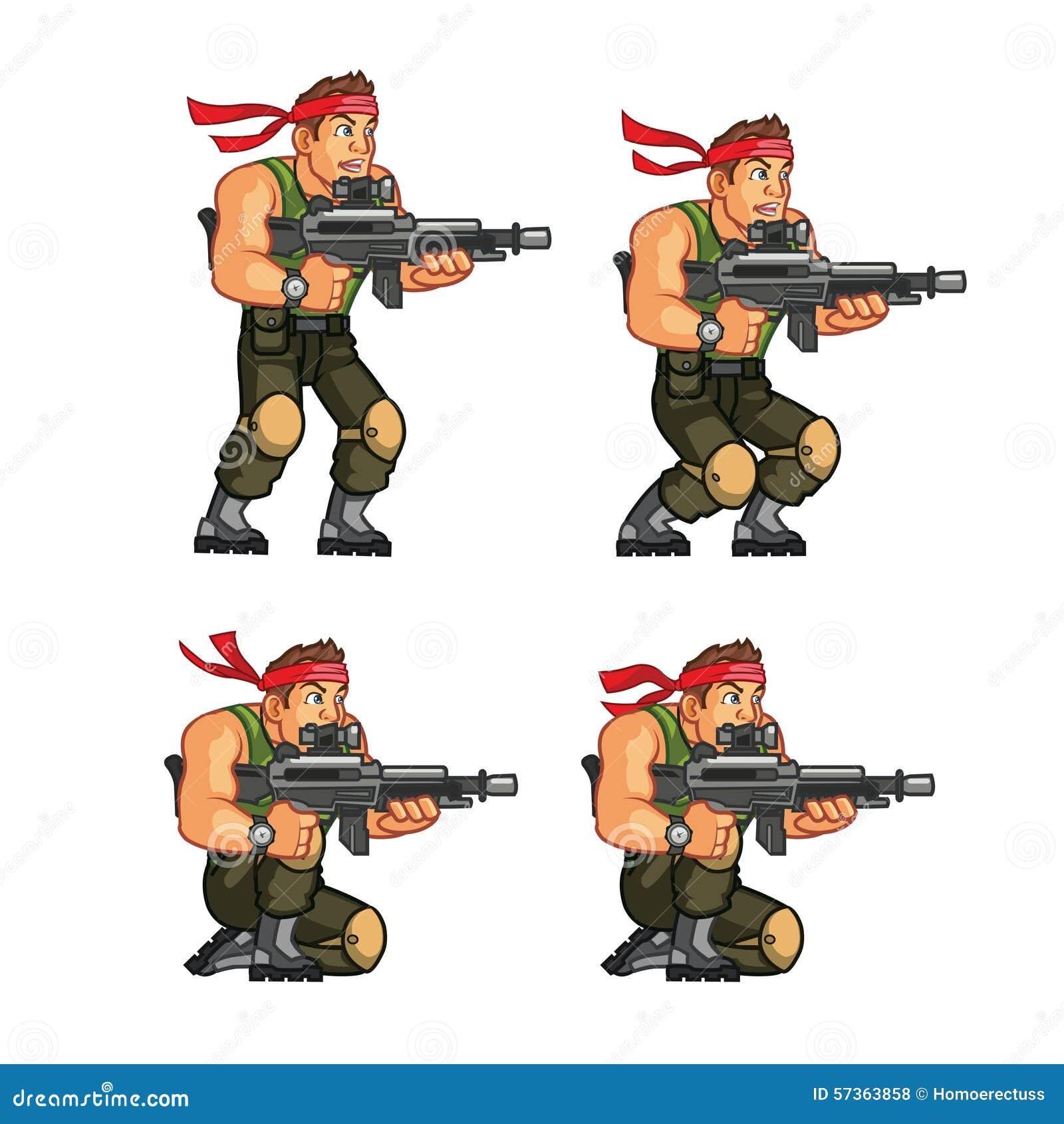 Commando Crouching Game Sprite Stock Vector Illustration Of