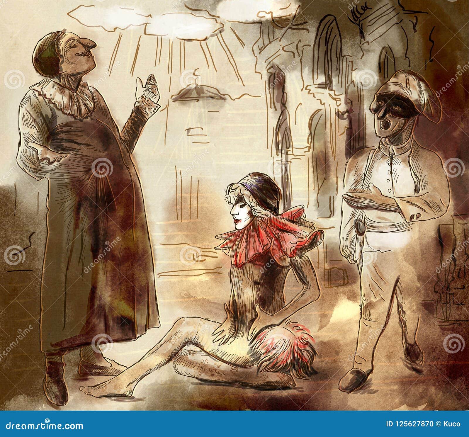 Commedia dell ` arte - ręka malował ilustrację