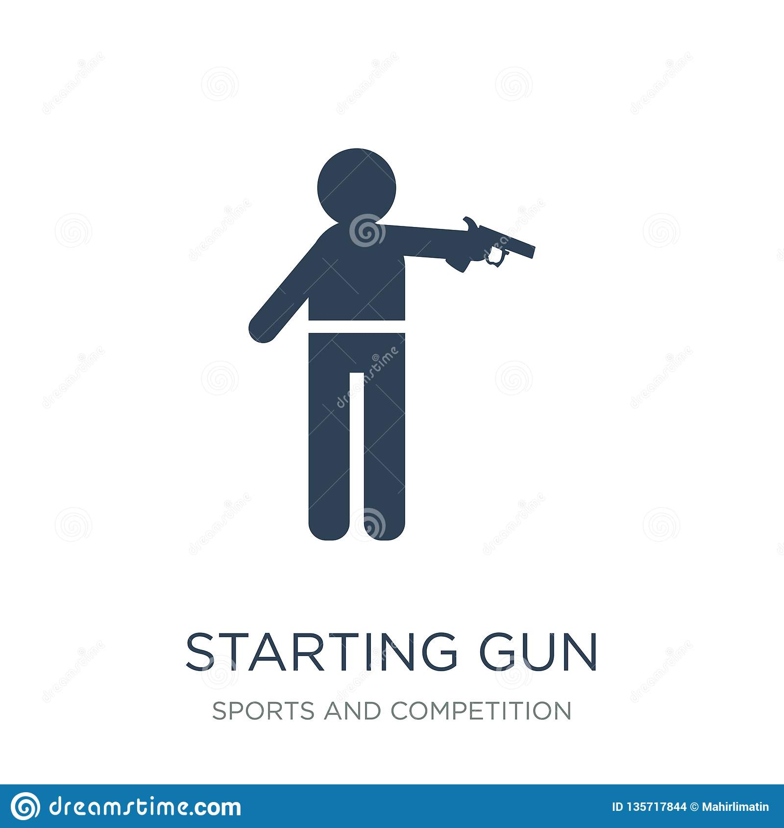 Commencer l icône d arme à feu dans le style à la mode de conception commençant l icône d arme à feu d isolement sur le fond blan