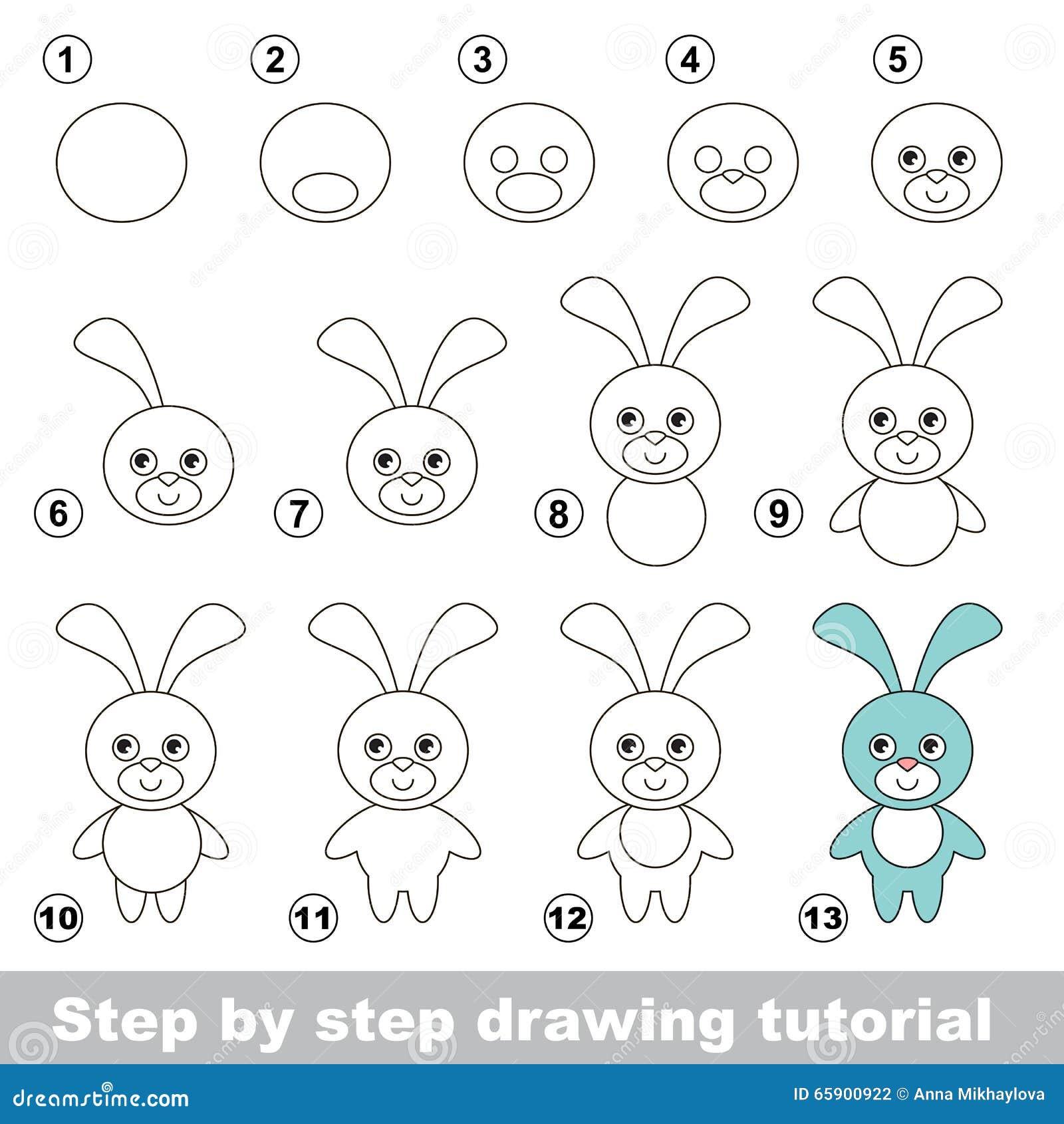 Comment dessiner un lapin dr le illustration de vecteur - Lapin a dessiner ...