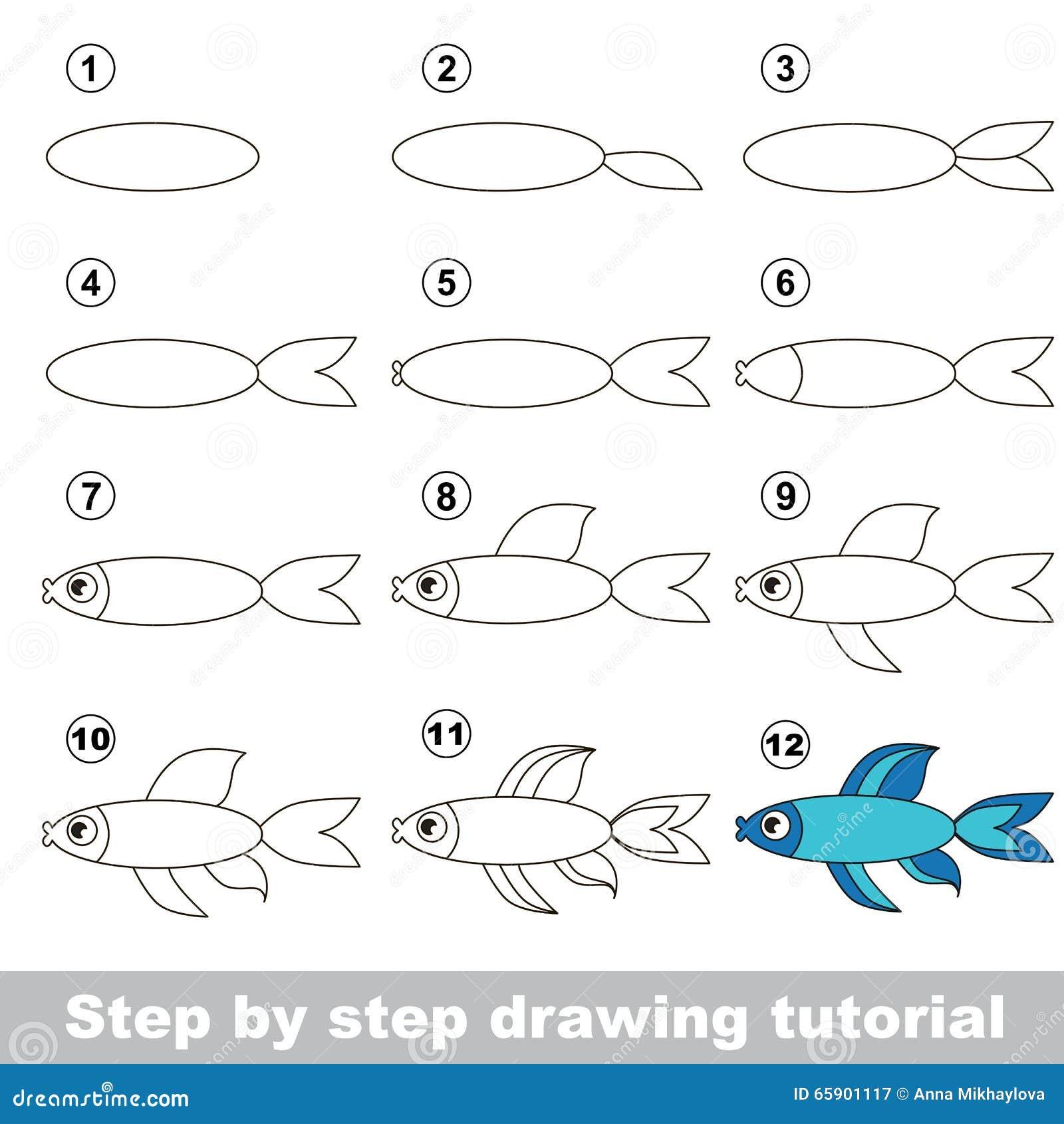 Comment dessiner un poisson bleu illustration de vecteur - Dessiner un poisson facilement ...
