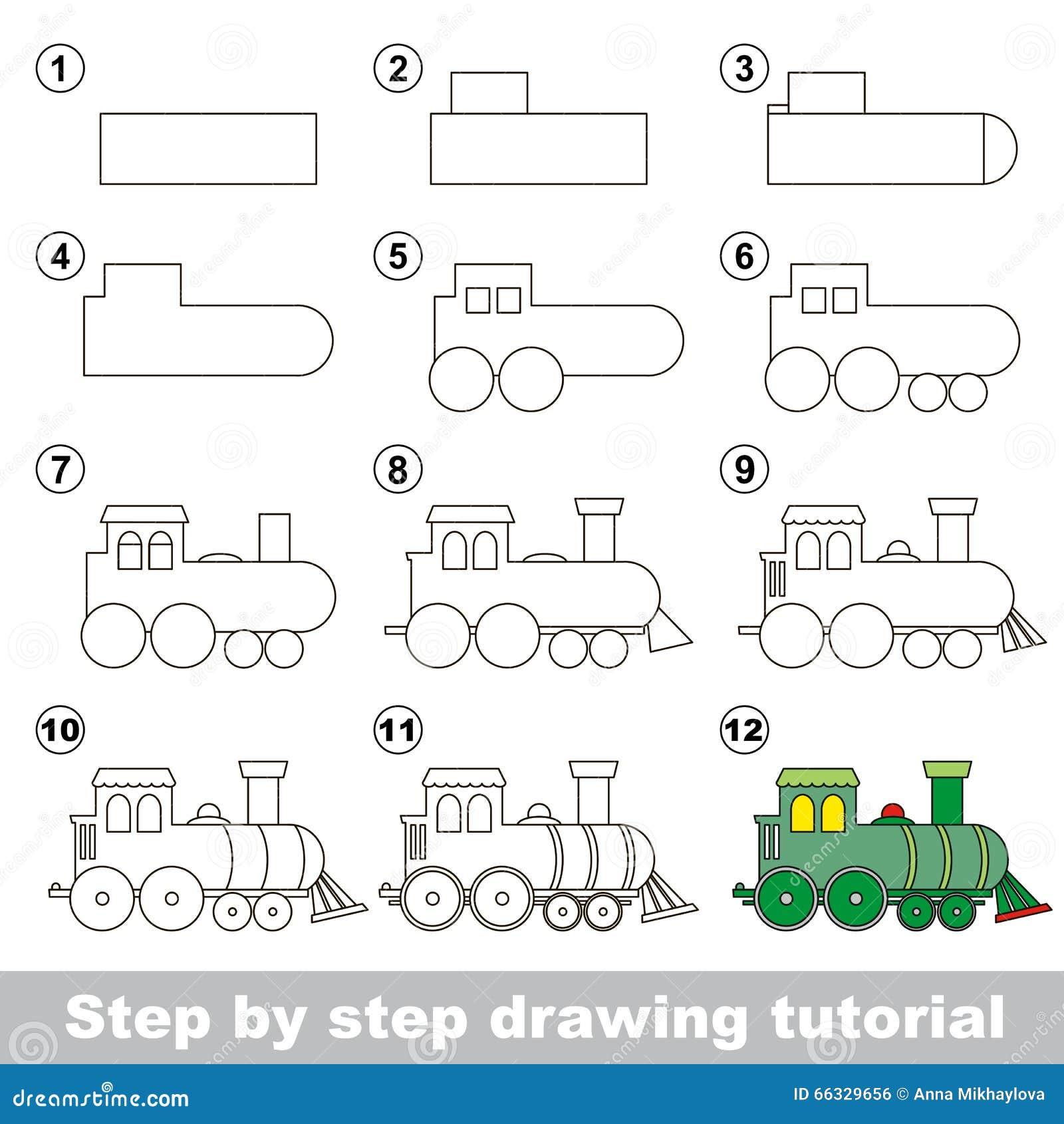 Comment dessiner une locomotive illustration de vecteur - Comment dessiner un train ...