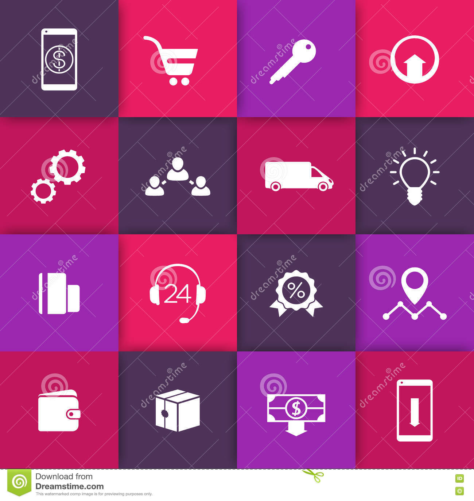 Commerce électronique, icônes en ligne de Web d achats sur les places, pictogrammes pour le site Web de commerce électronique