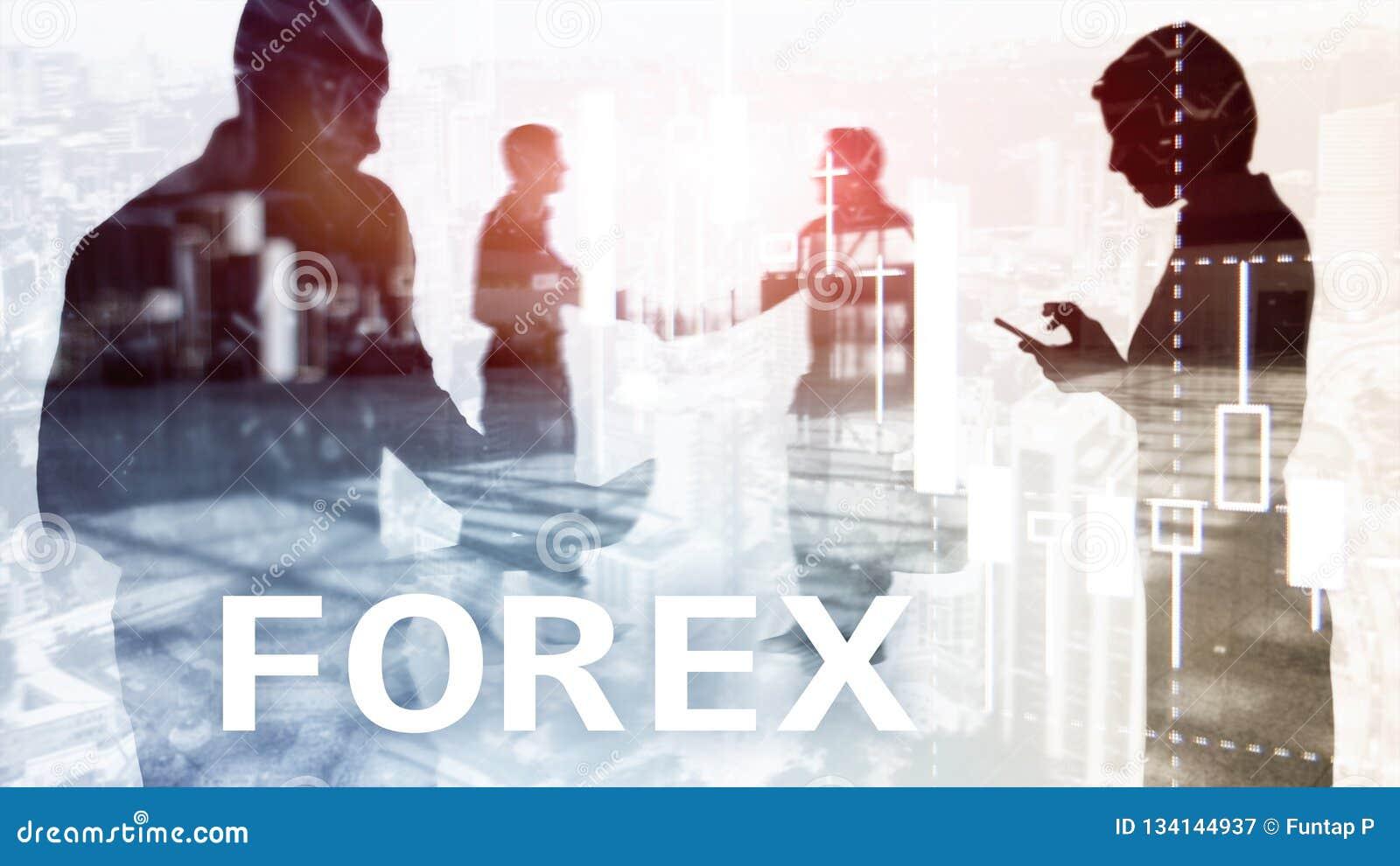 Commerce de forex, diagramme financier de bougie et graphiques sur le fond brouillé de centre d affaires Homme et femme, silhouet