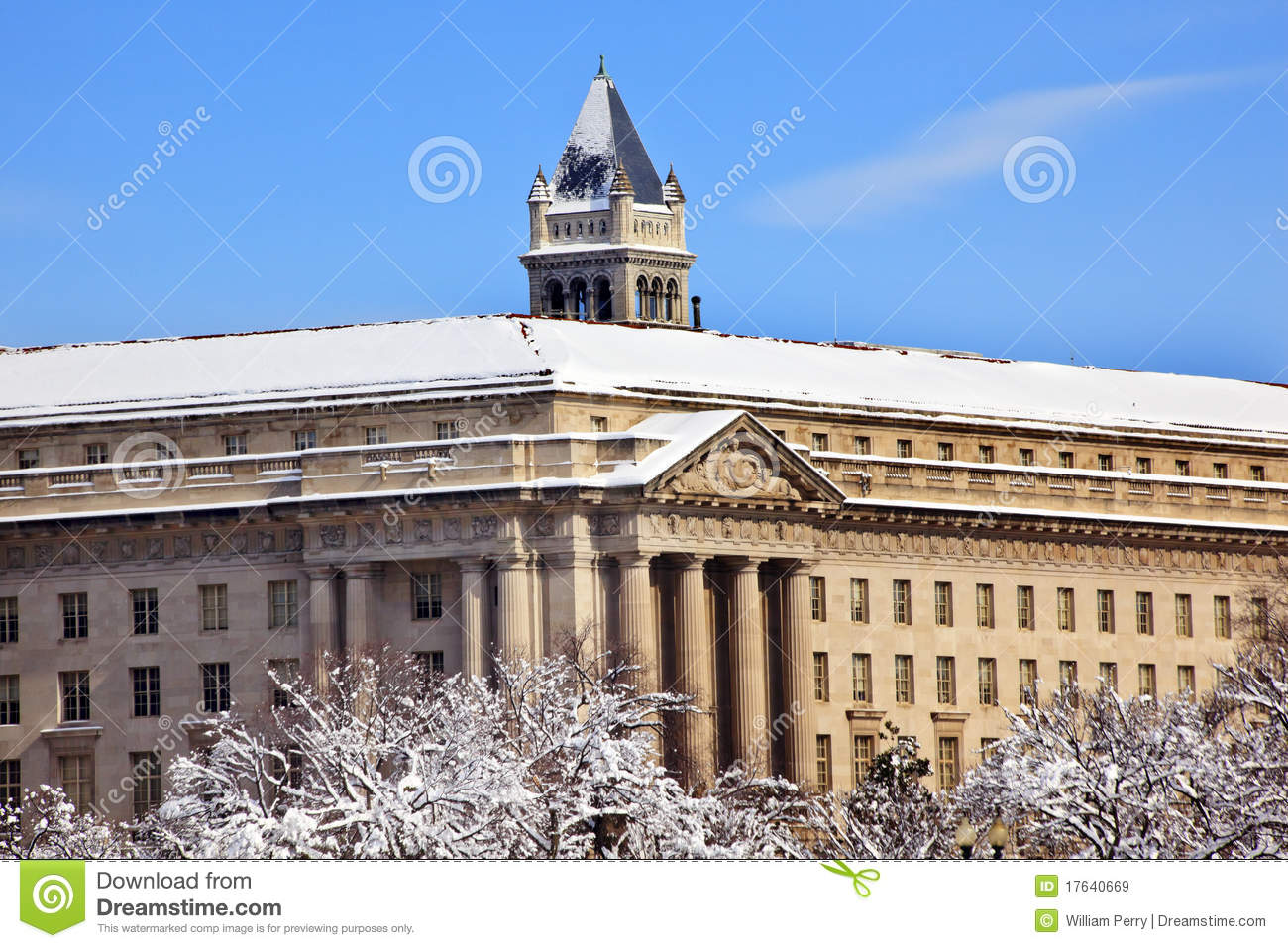 commerce department old post office after snow royalty free stock images image 17640669. Black Bedroom Furniture Sets. Home Design Ideas