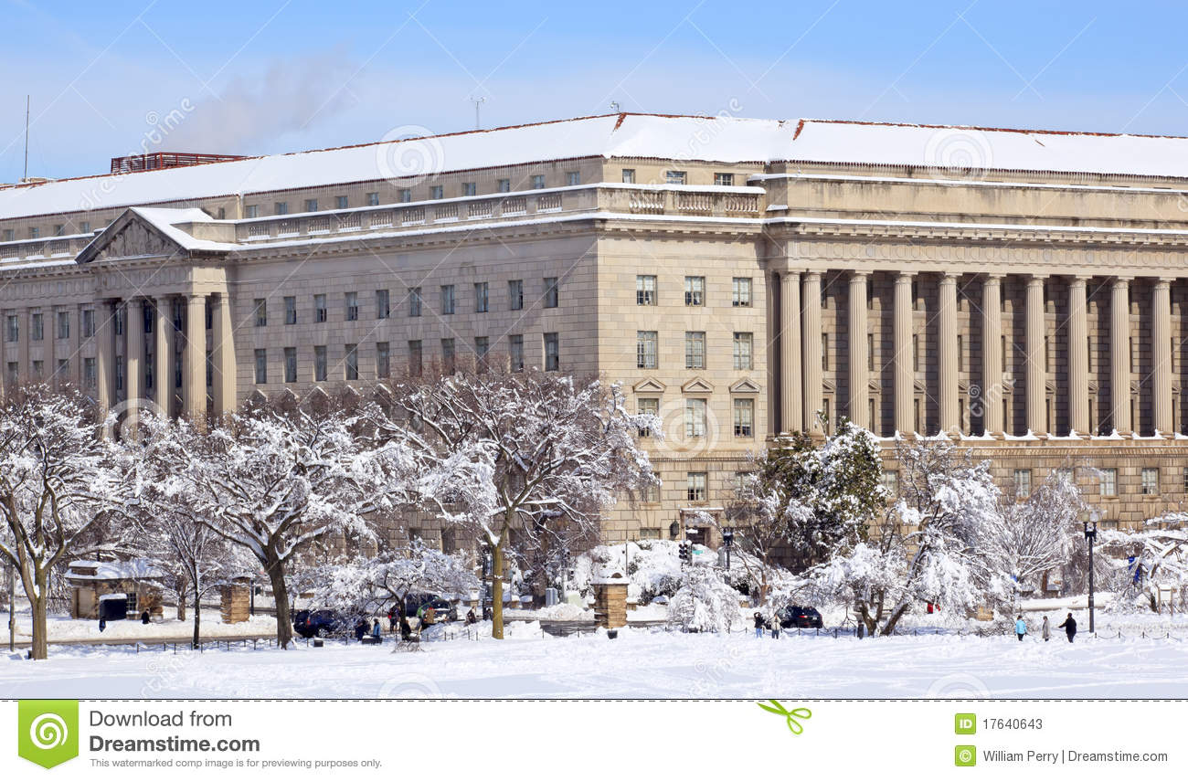 commerce department after snow constitution ave stock photos image 17640643. Black Bedroom Furniture Sets. Home Design Ideas