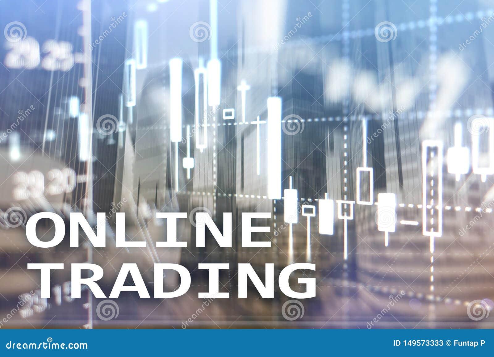 Commerce en ligne, FOREX, concept d investissement sur le fond brouill? de centre d affaires