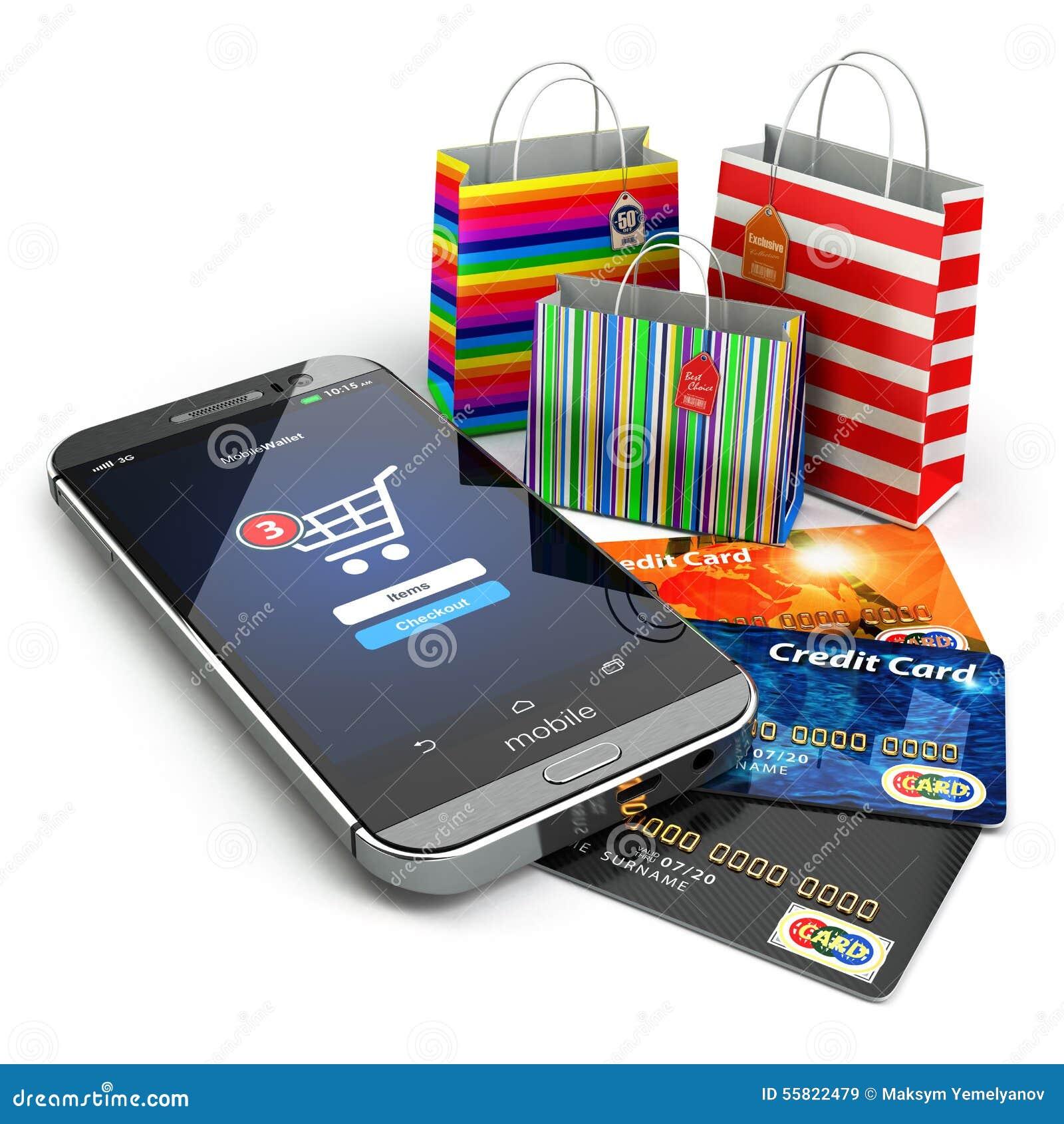 commerce lectronique achats en ligne d 39 internet t l phone portable panier illustration stock. Black Bedroom Furniture Sets. Home Design Ideas