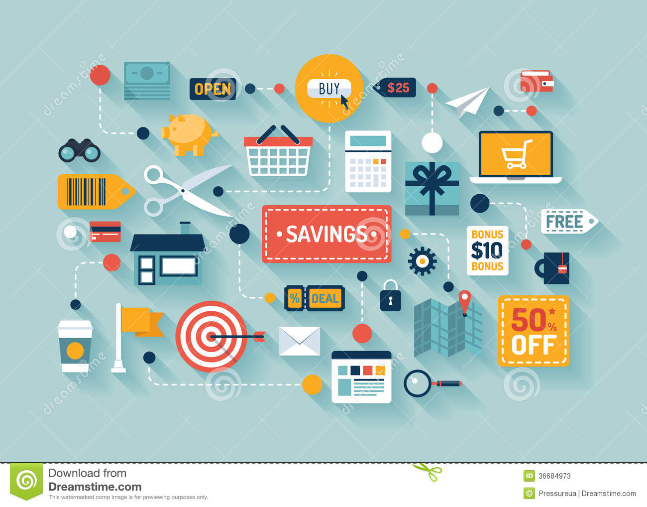 Commerce And Savings Flat Illustration Stock Vector