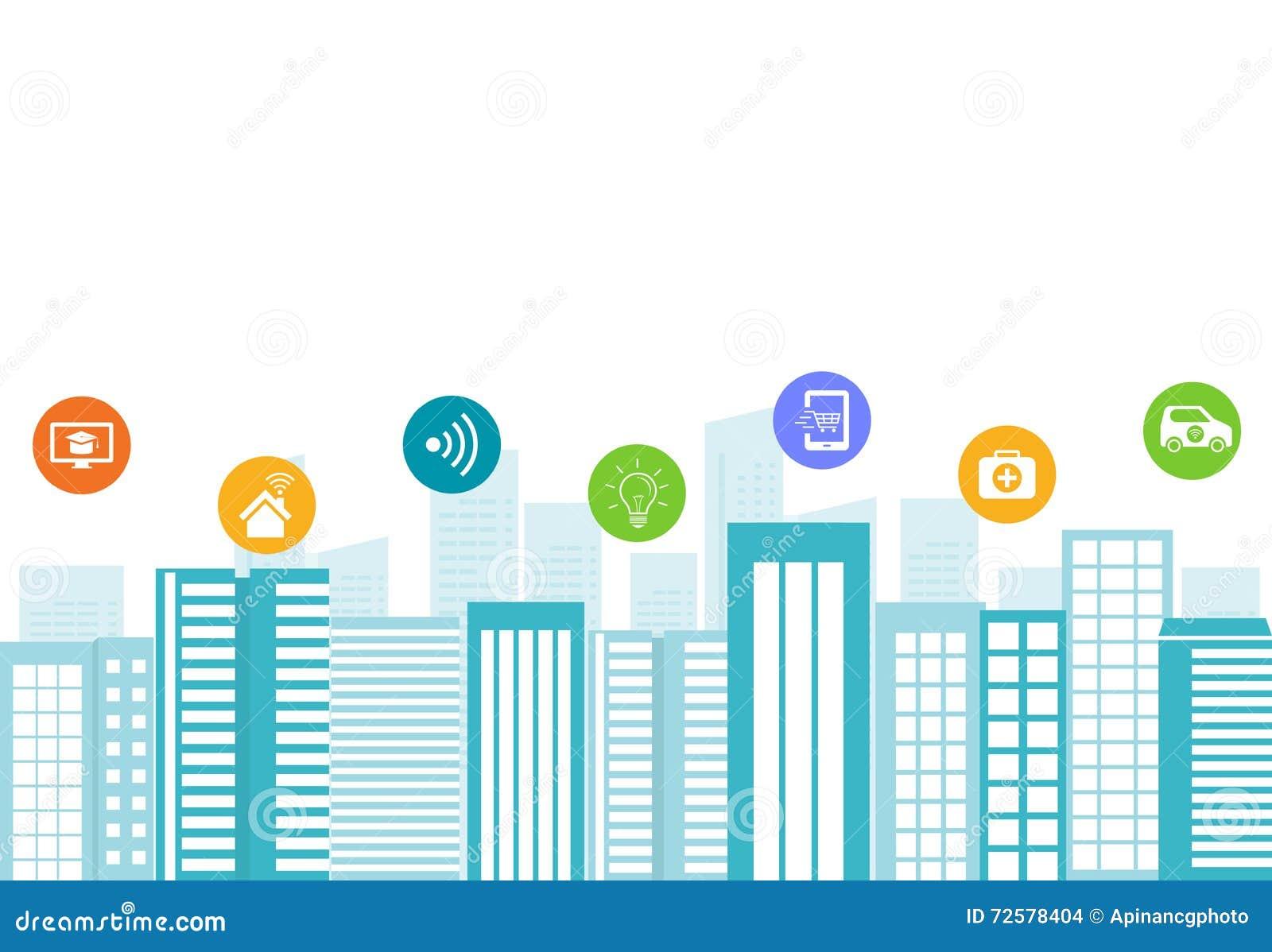 Commerciële slimme stad De aansluting van Internet