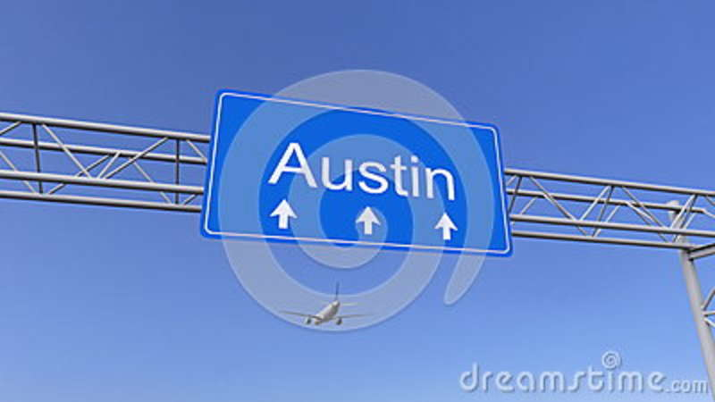 Commercial airplane arriving to Austin airport. Travelling to United States conceptual 3D rendering