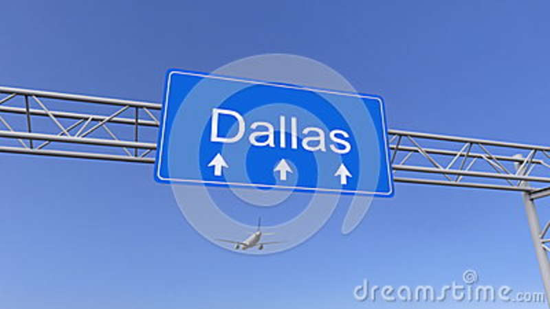 Commercial airplane arriving to Dallas airport. Travelling to United States conceptual 3D rendering