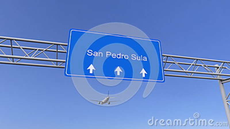 Commercial airplane arriving to San Pedro Sula airport. Travelling to Honduras conceptual 3D rendering