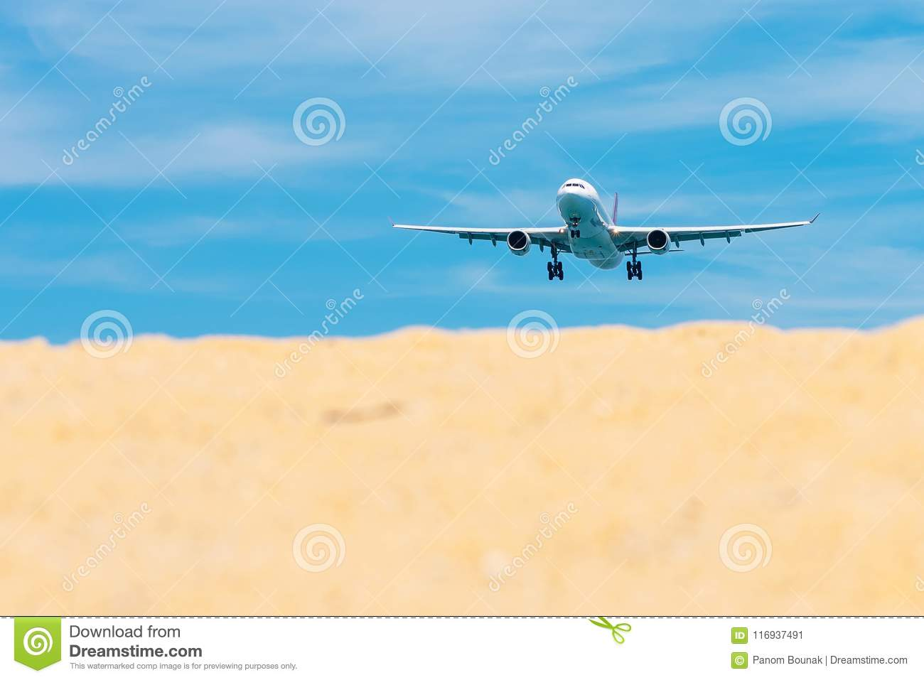 Commercial Airplane Flying Takeoff From International