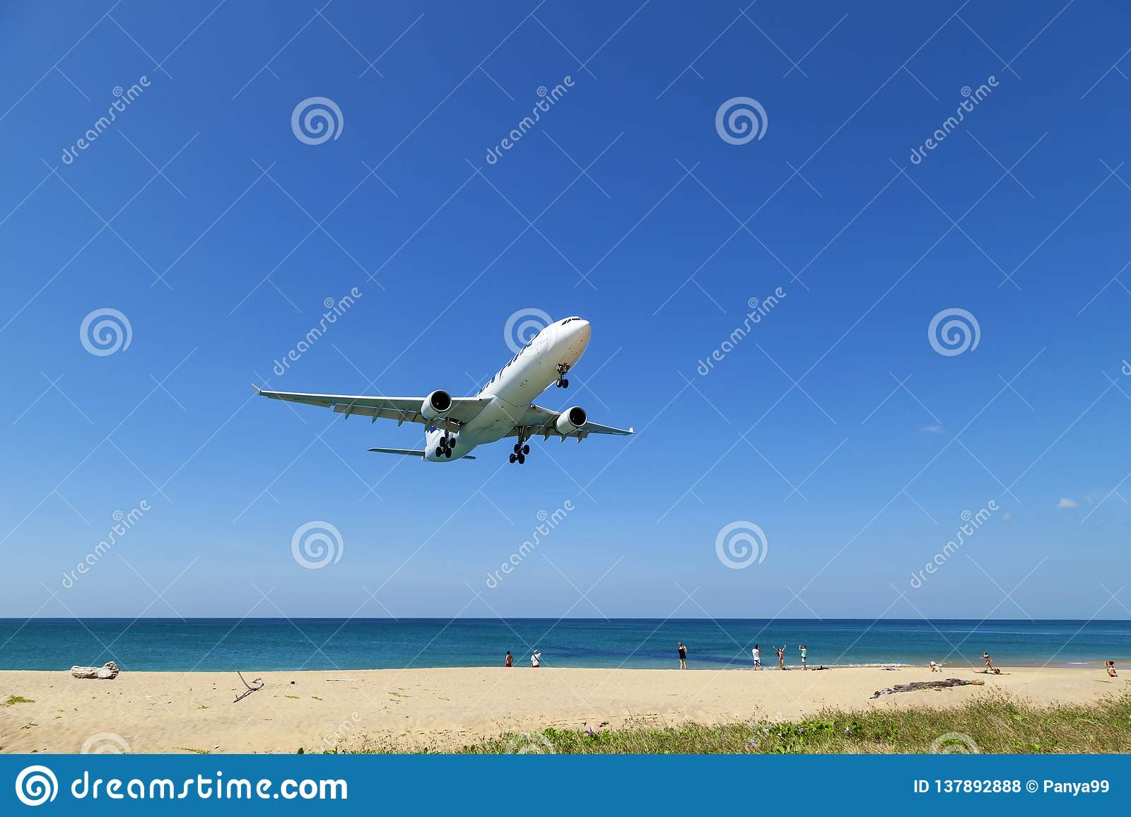 Commercial airplane landing above sea and clear blue sky over beautiful scenery nature background,concept business travel and