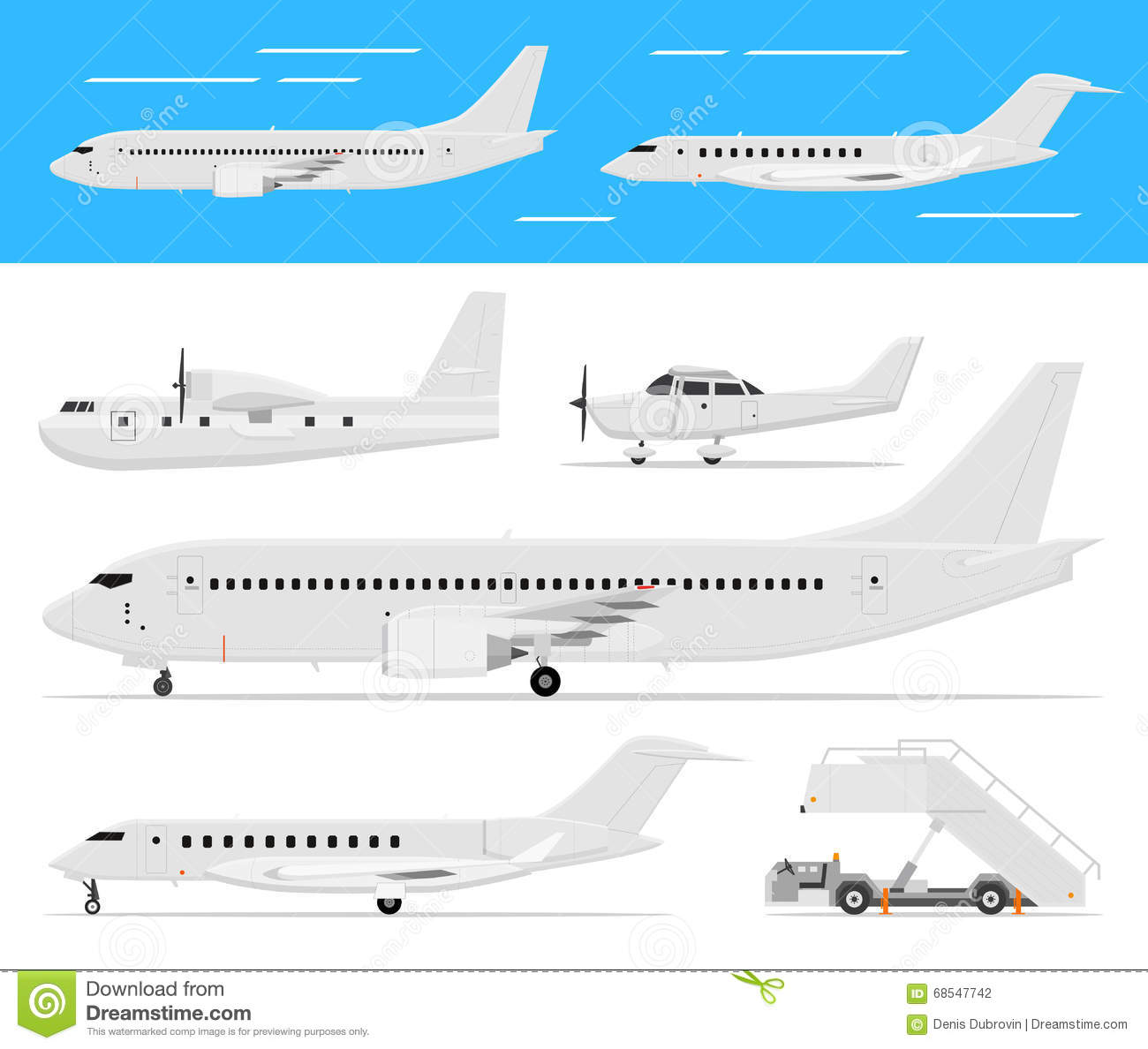commercial airplane and private jets stock vector illustration of