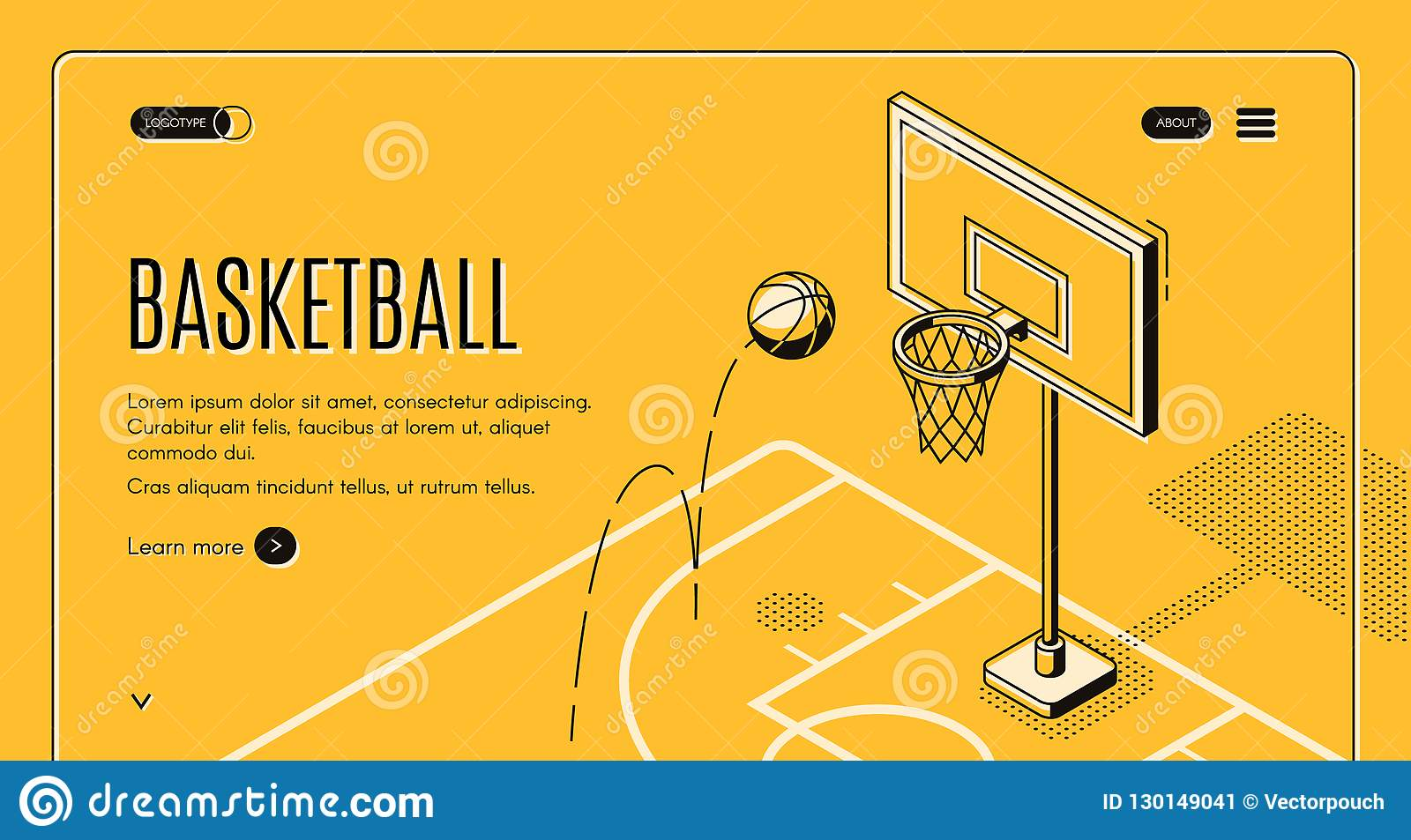 Commercial basketball court vector landing page