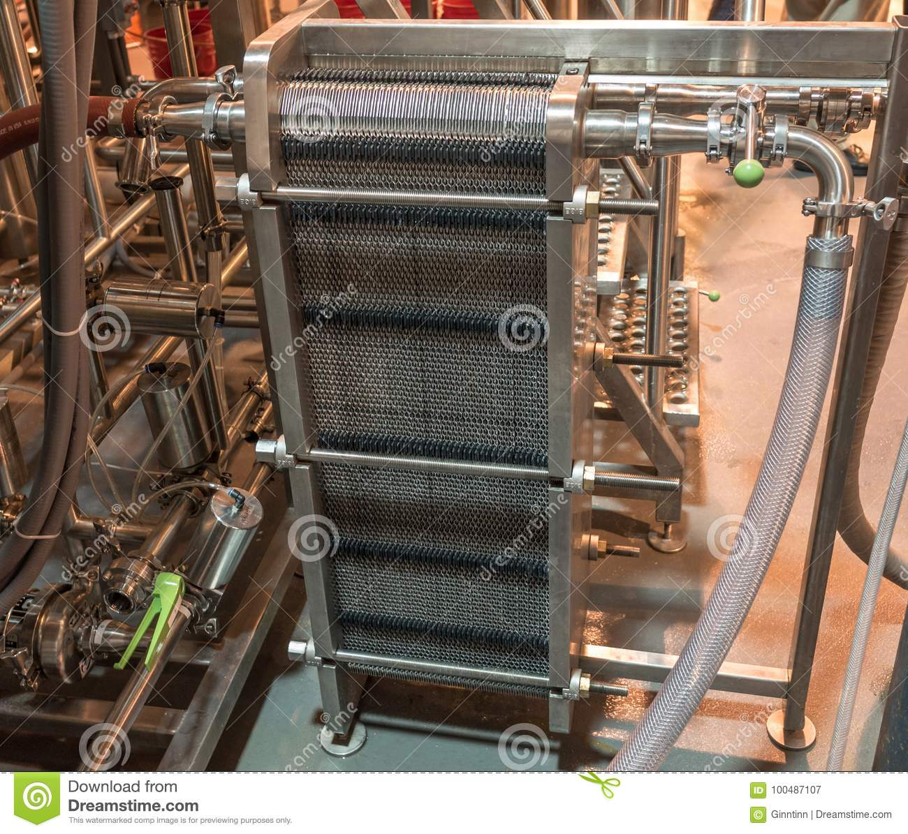 Commercial Brewery Plate Heat Exchanger Stock Image - Image