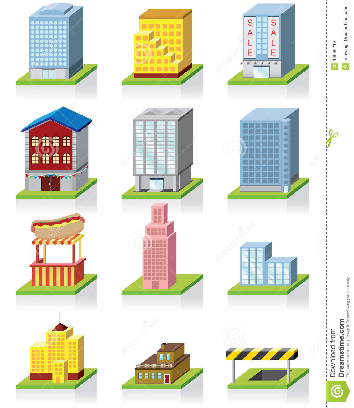 Commercial building icon 3d illustration stock vector for Build house online 3d free