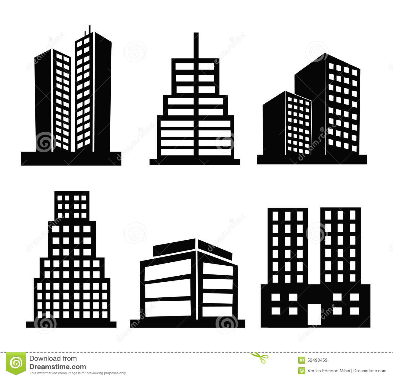 Commercial Building Icons Stock Vector Image Of District