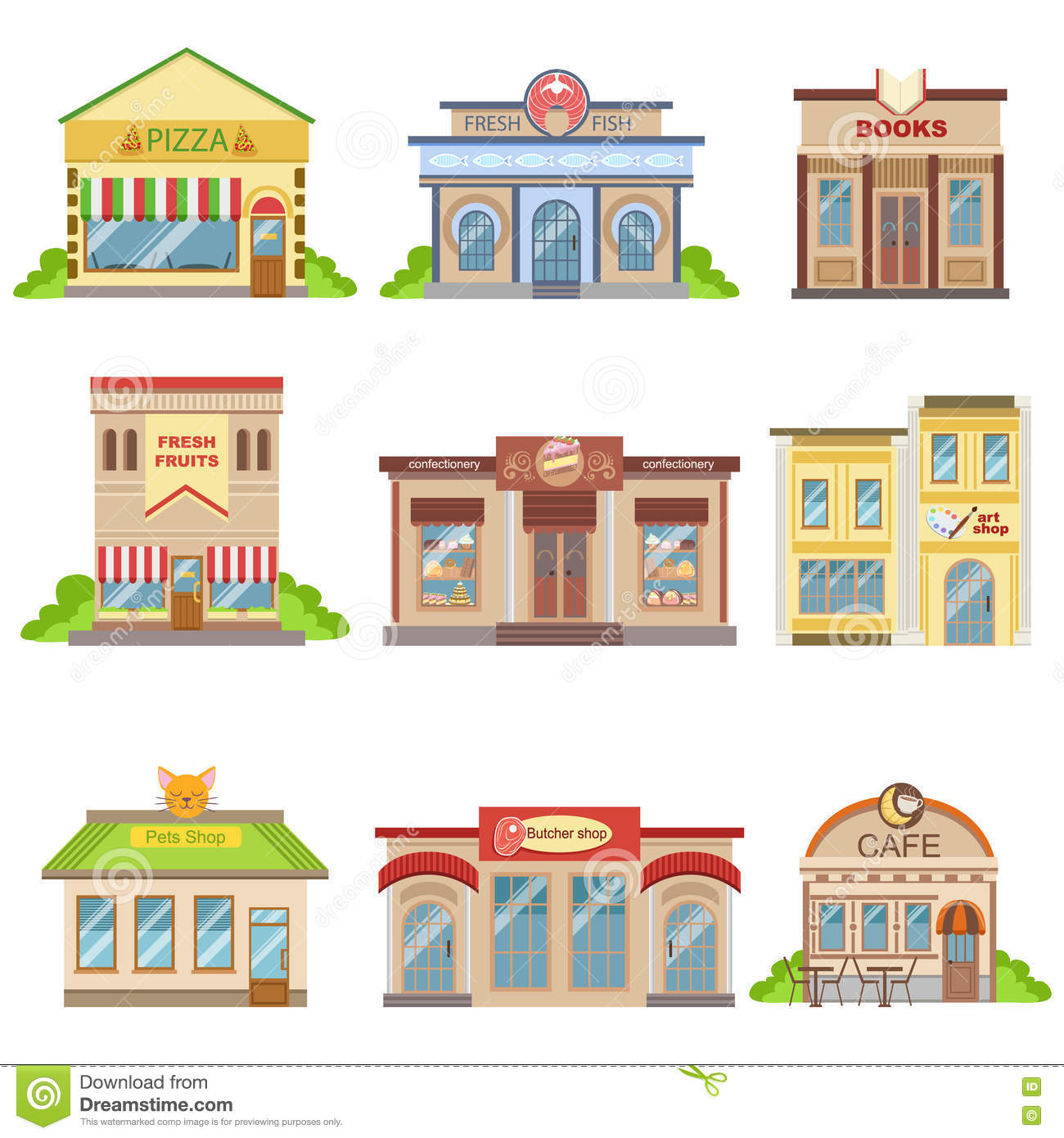 Commercial Buildings Exterior Design Set Of Stickers Stock Vector