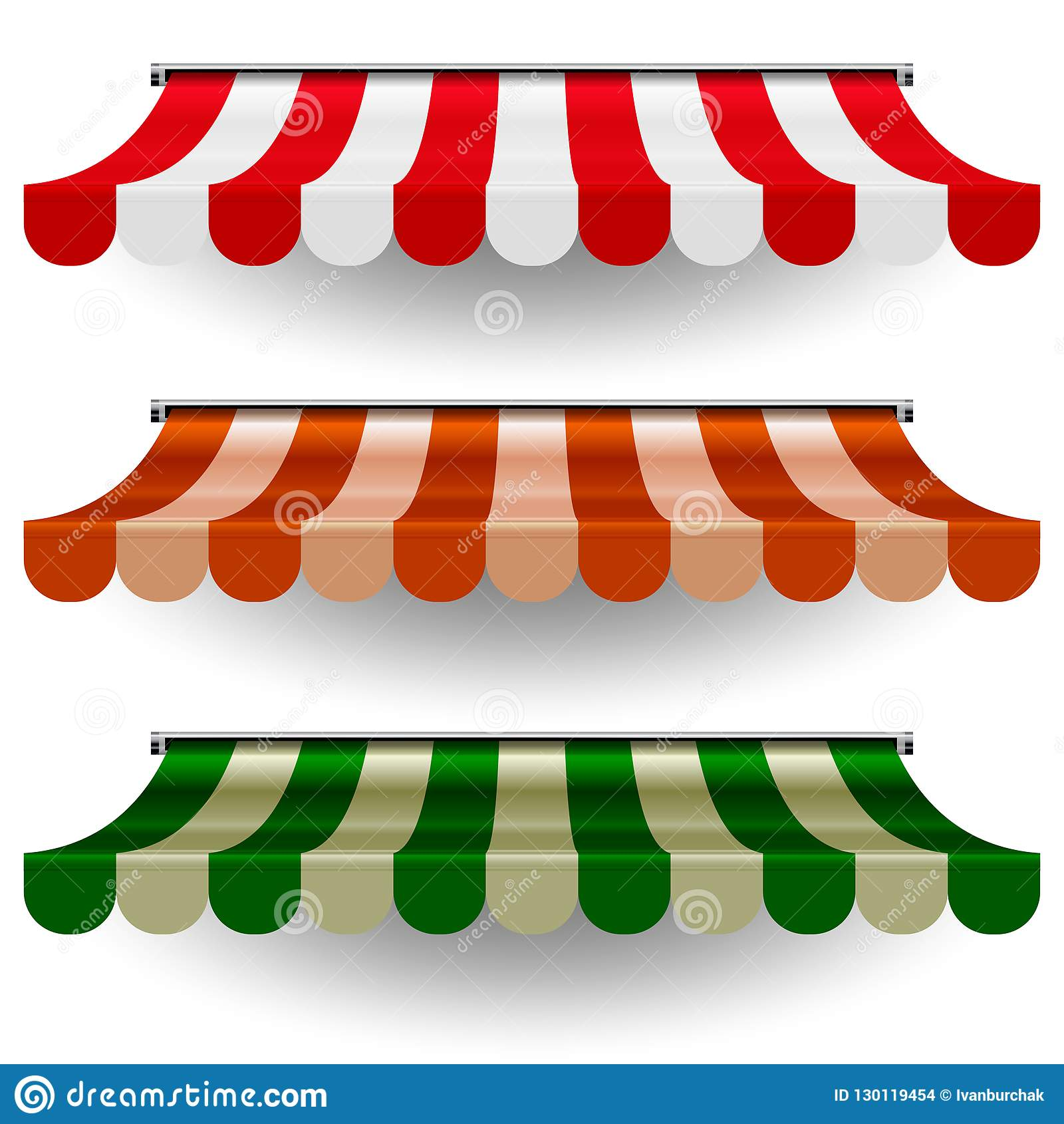 Commercial Canopy Awning Series Vector Pop Up Store Striped