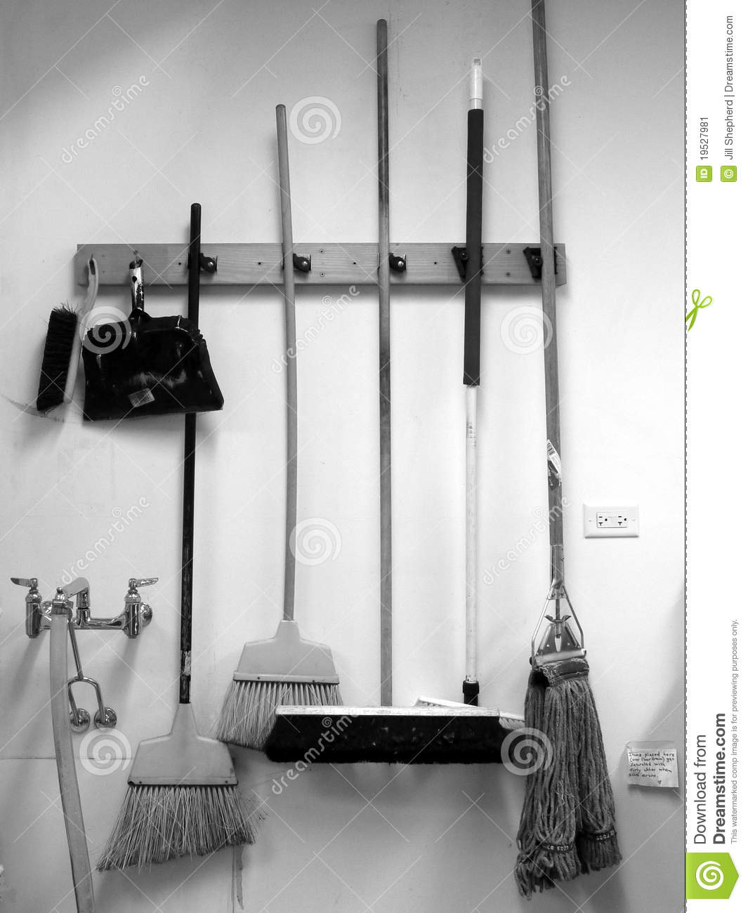 Commercial Cleaning Brooms Dustpan And Mop Stock Image