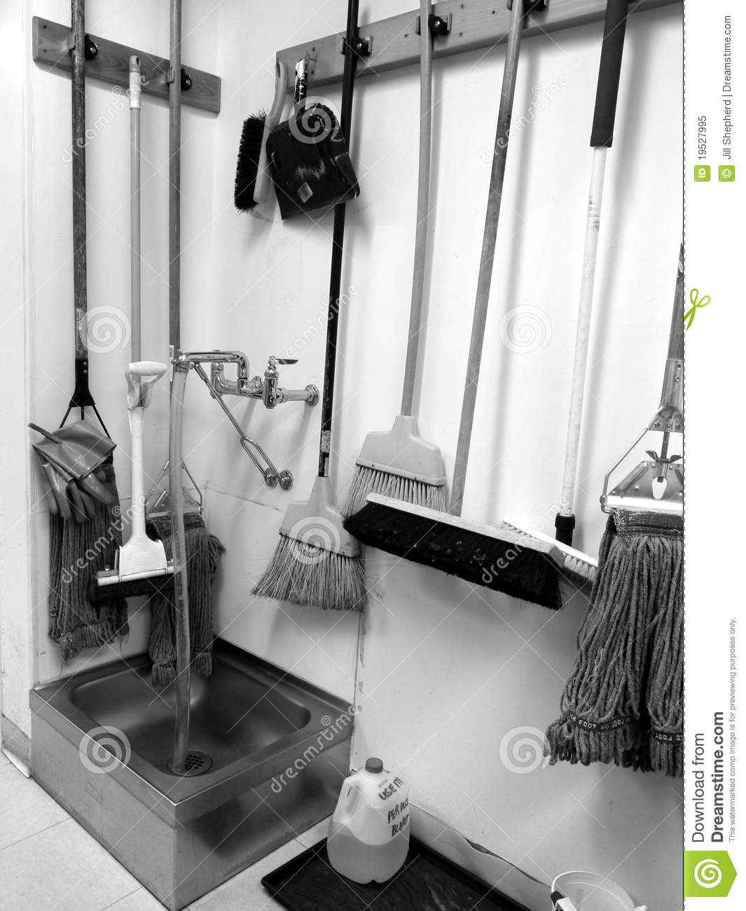 Commercial Cleaning: Brooms, Mops, Sink Stock Image - Image of ...