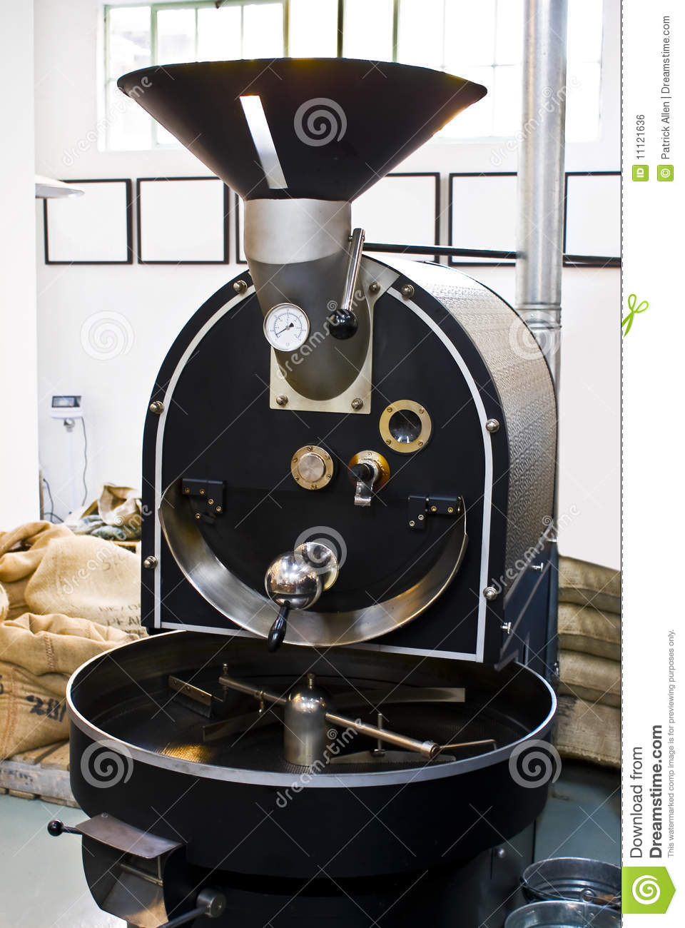 Commercial Coffee Drum Roaster Stock Photo - Image of