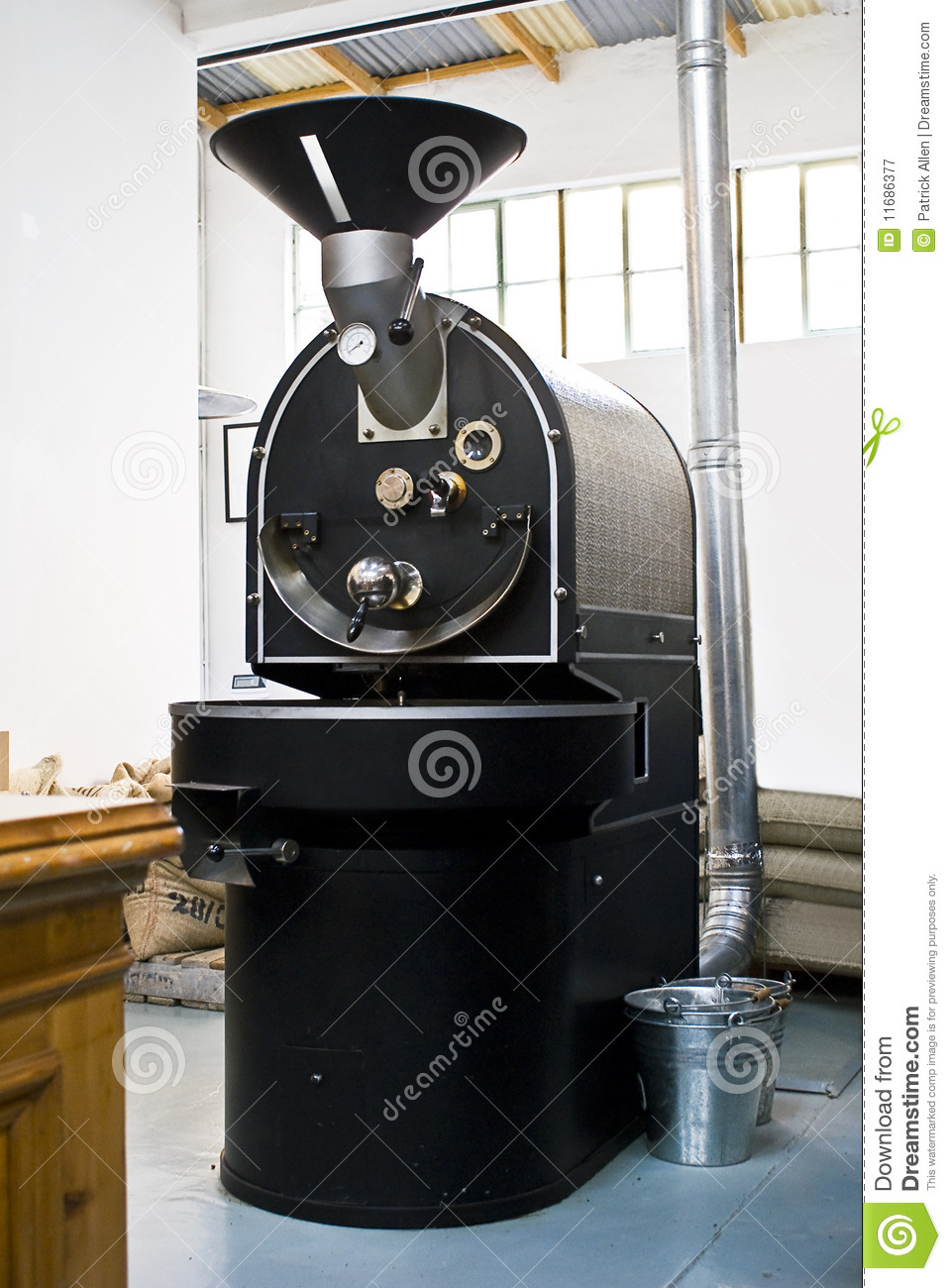 Commercial Coffee Drum Roaster Royalty Free Stock